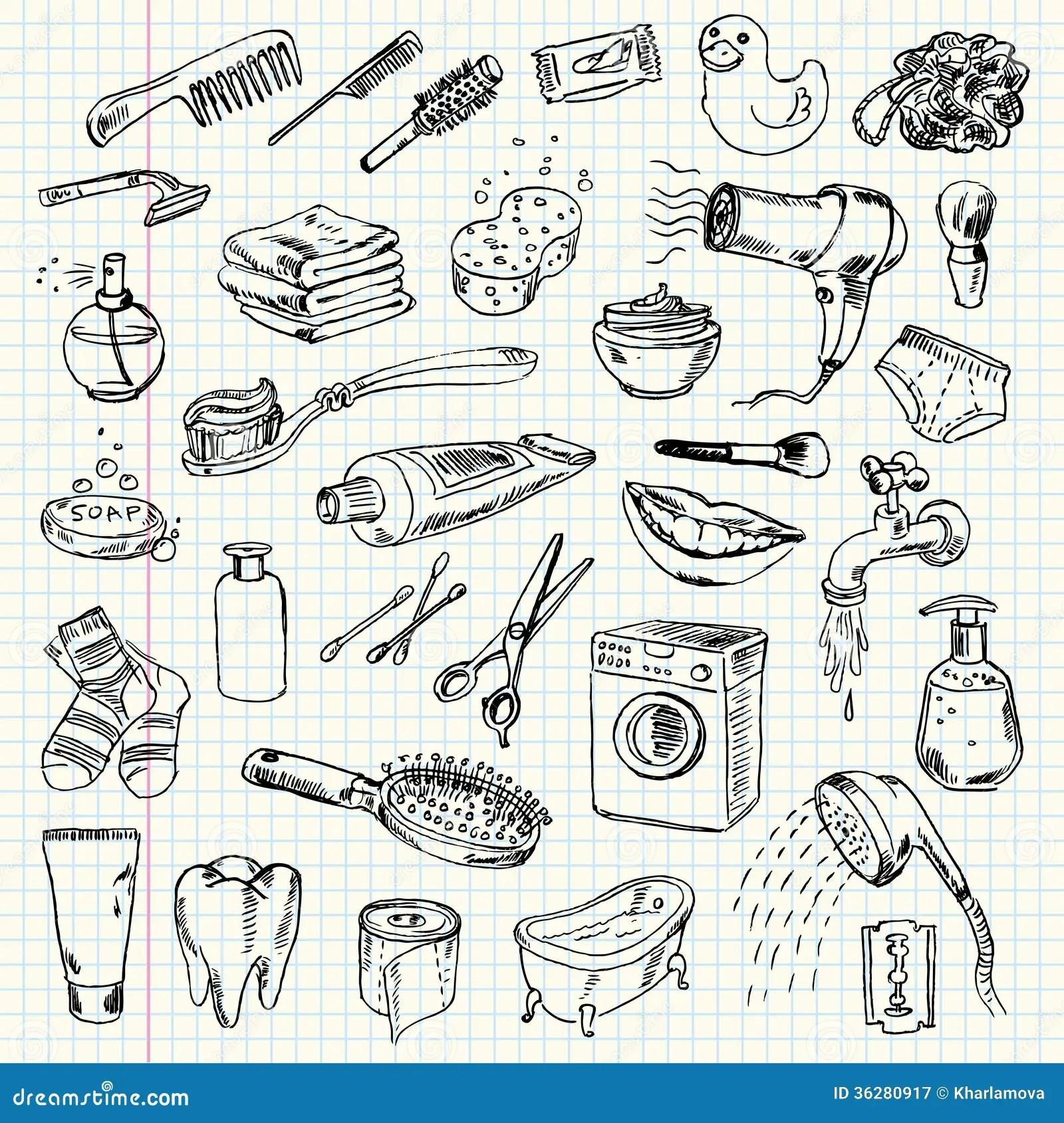 Produtos Da Higiene E De Limpeza Do Desenho A Mao Livre