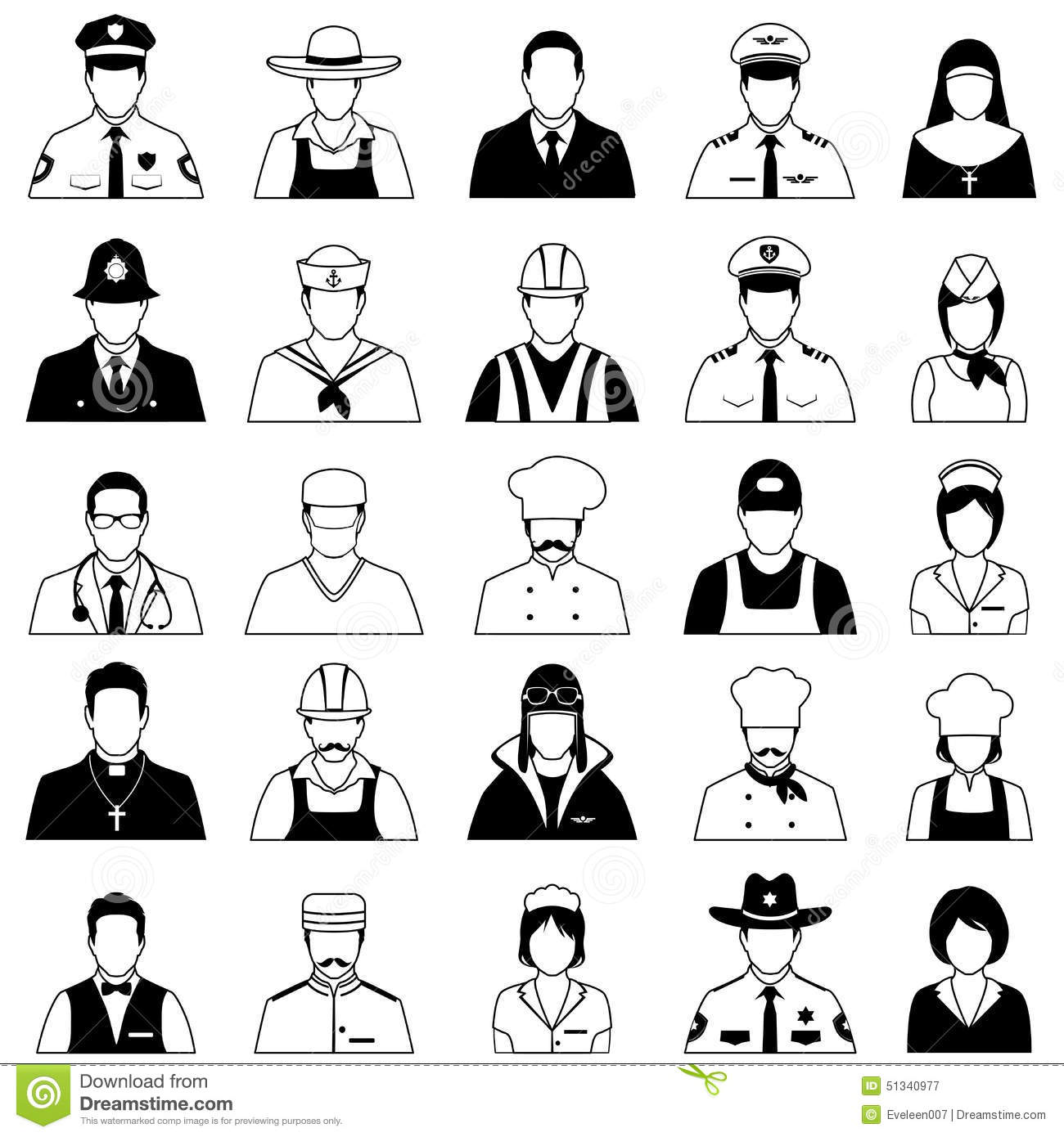 Profession People Uniform Stock Vector