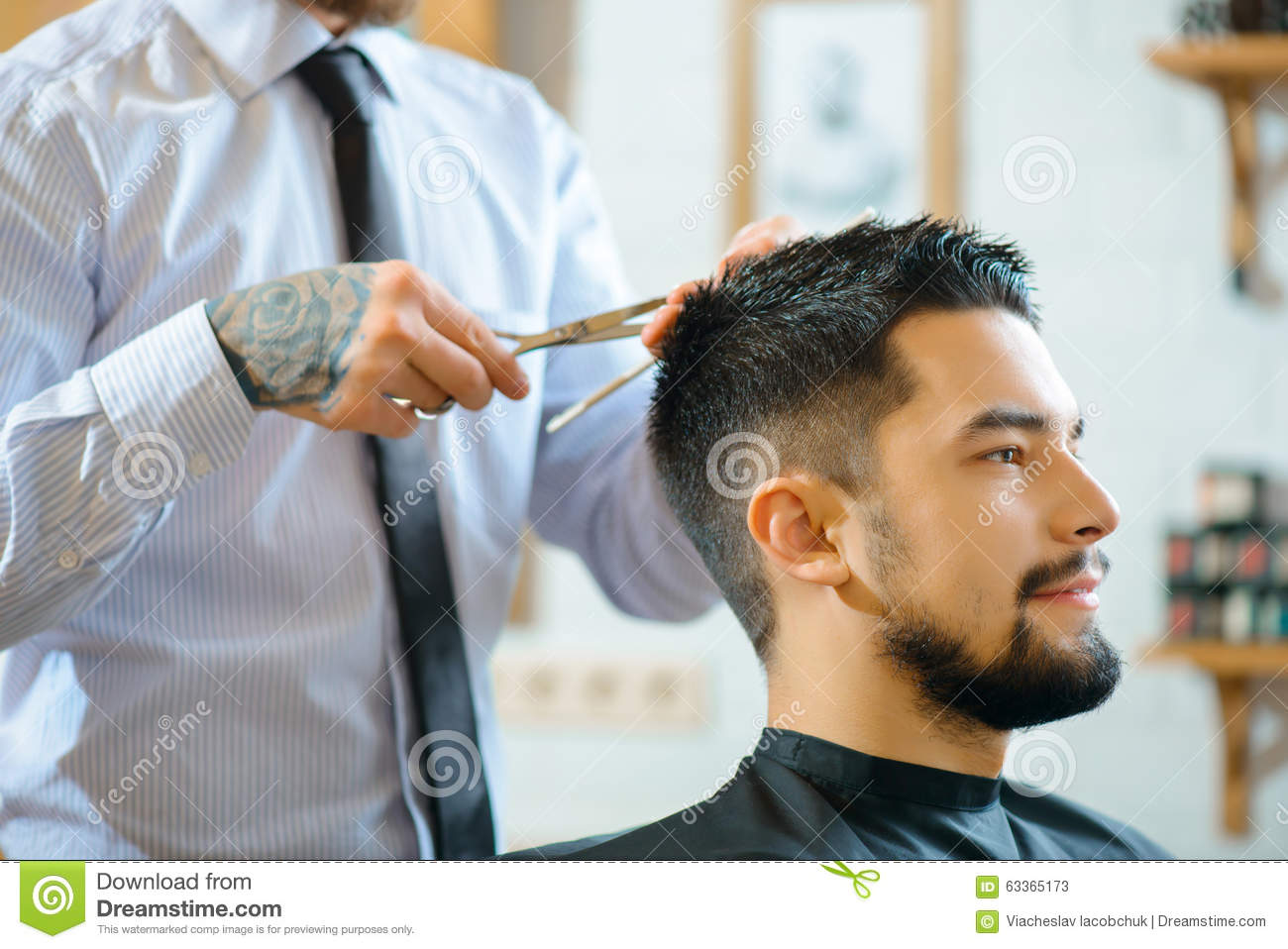 Professional Barber Making Haircut Stock Image Image