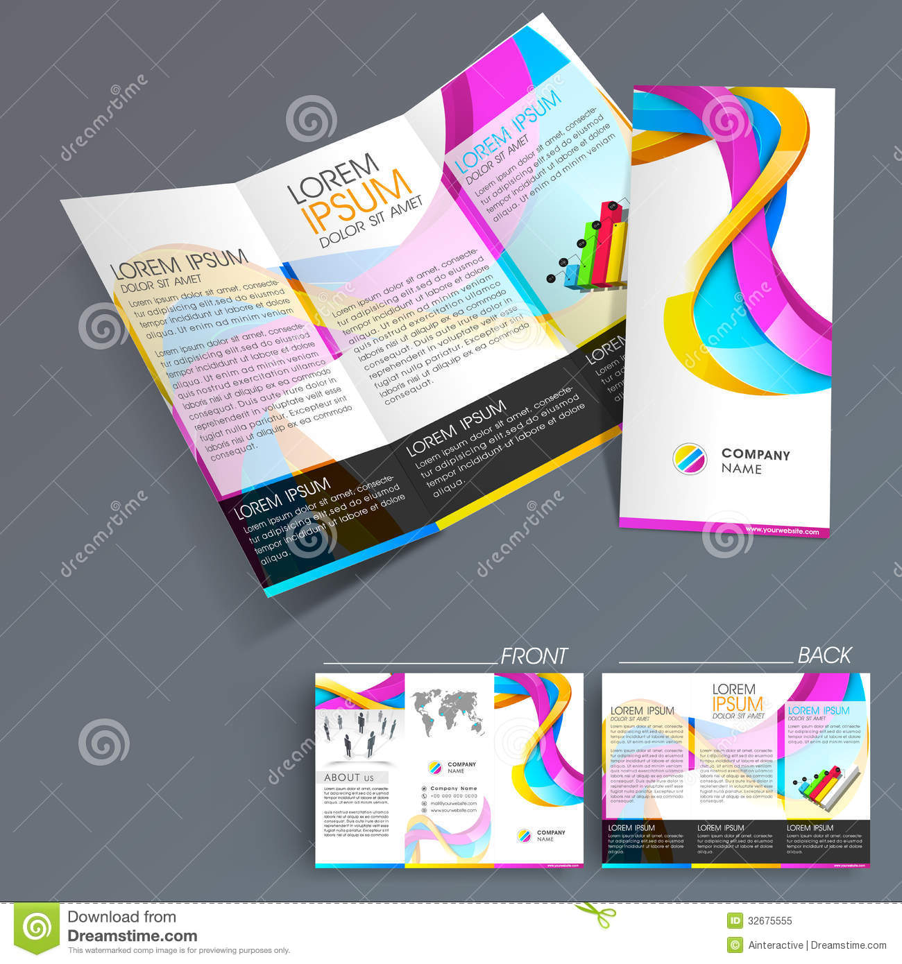 Professional Business Three Fold Flyer Template Royalty