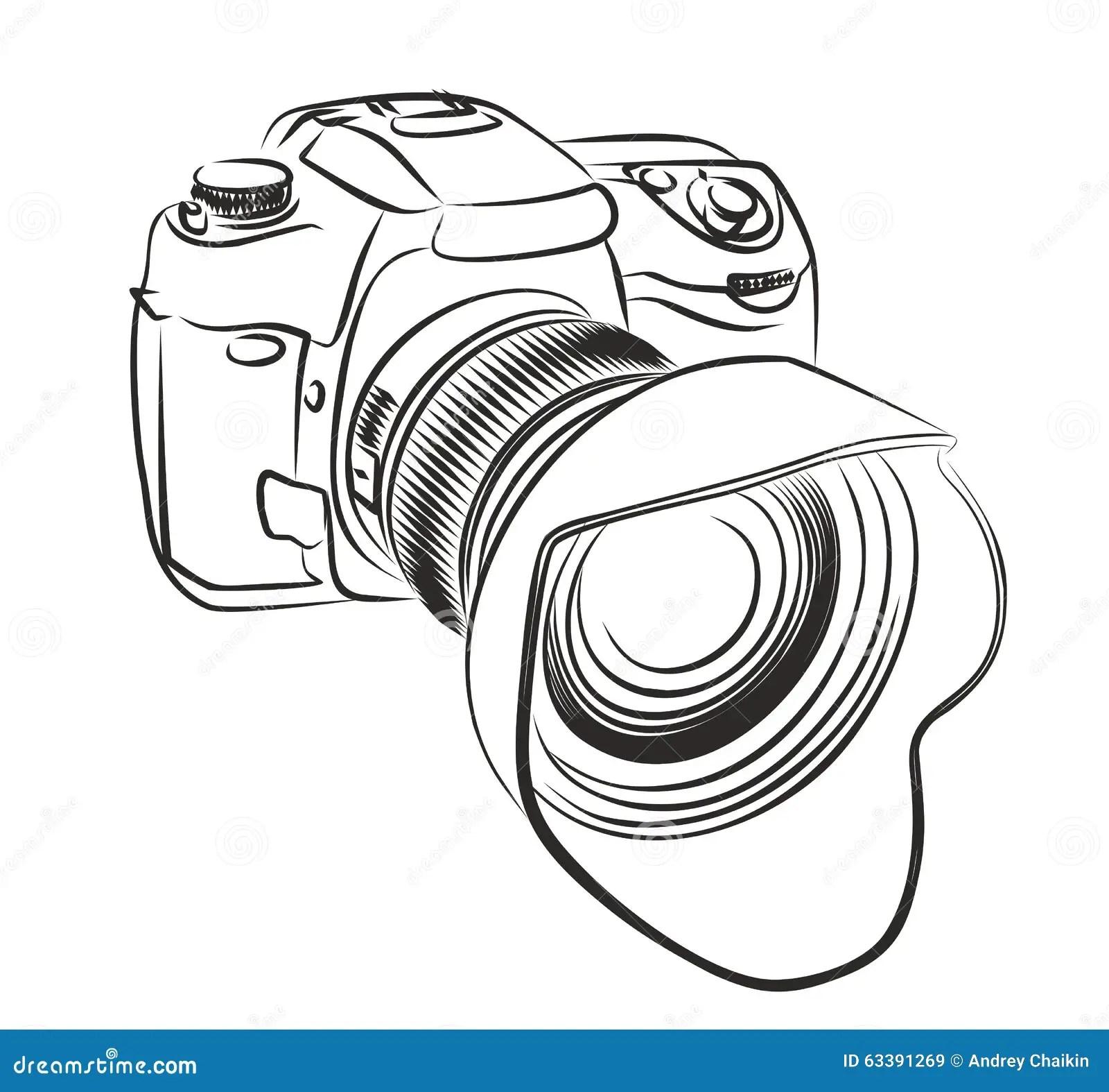 Professional camera. stock vector. Illustration of
