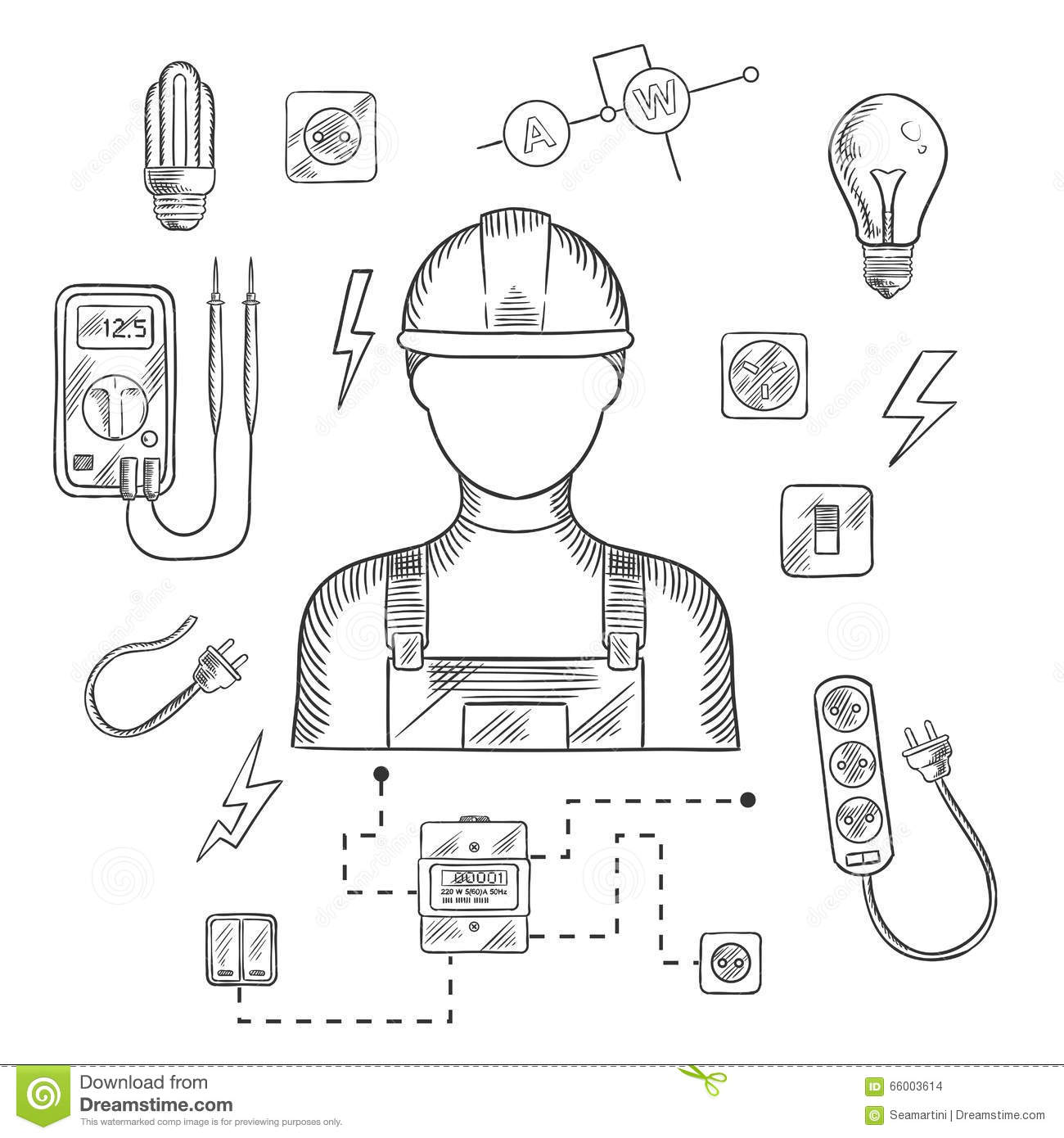 Professional Electrician With Tools And Equipment Stock