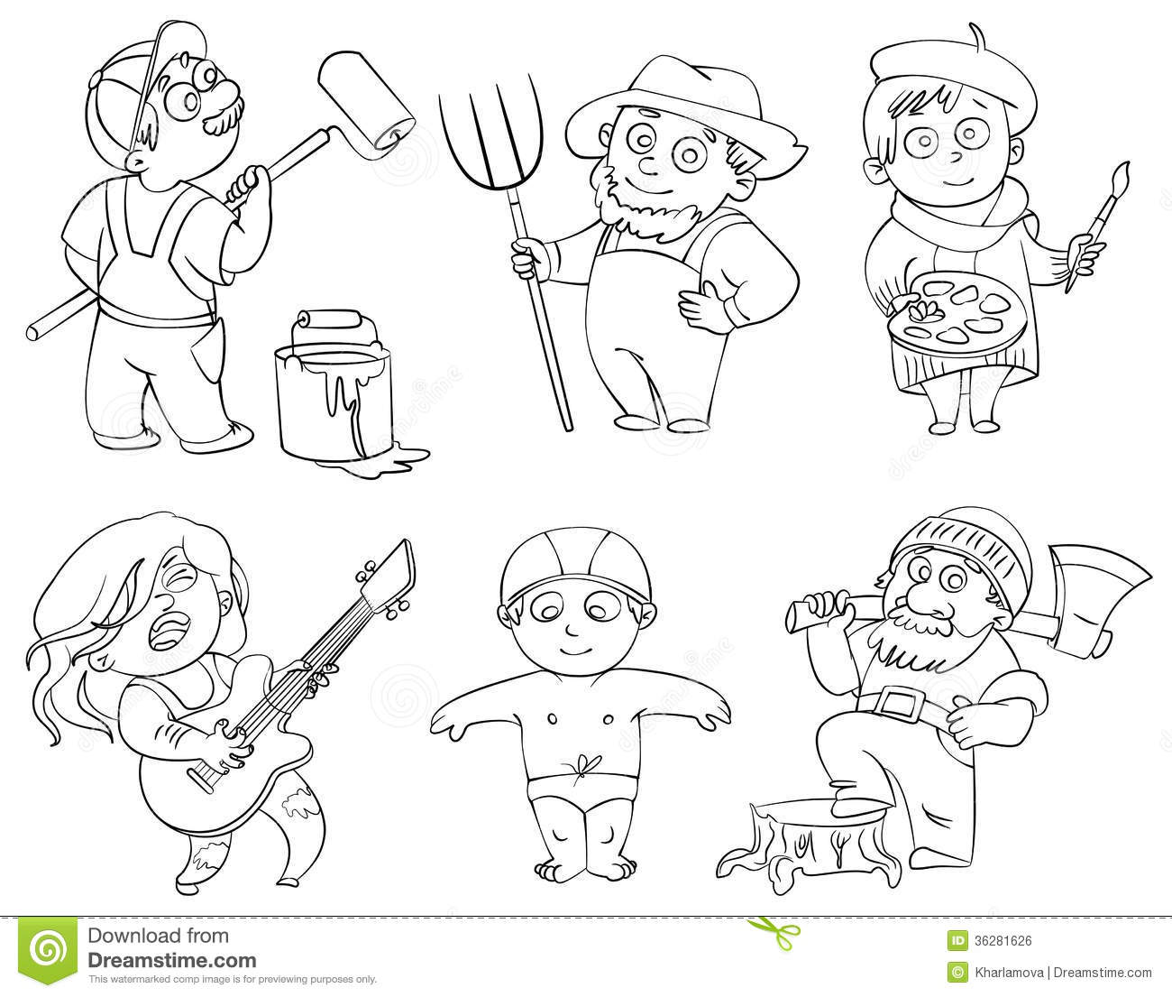 Professions Coloring Book Stock Vector Illustration Of Decorator