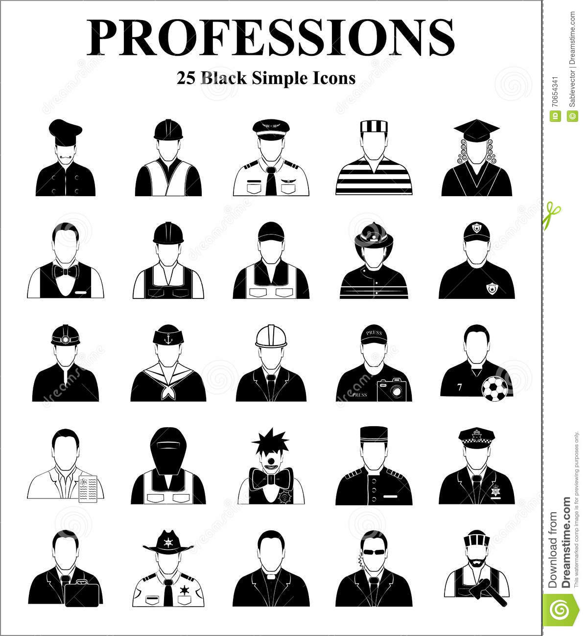 Professions Icons Set For Web And Mobile Stock Vector