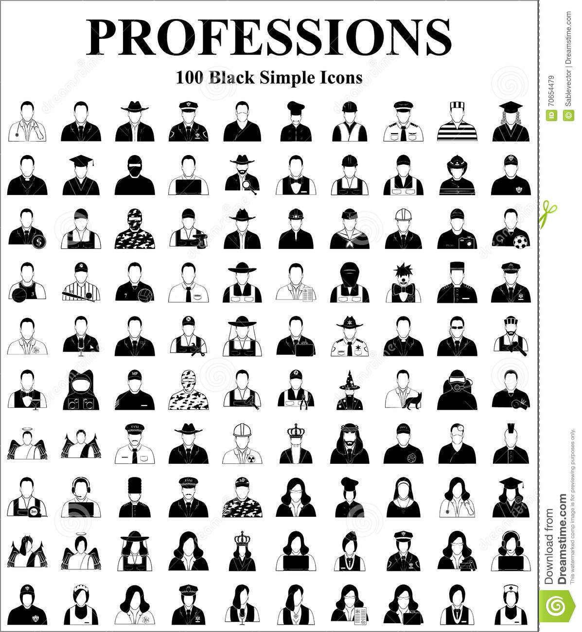 Professions 100 Icons Set For Web And Mobile Stock Vector