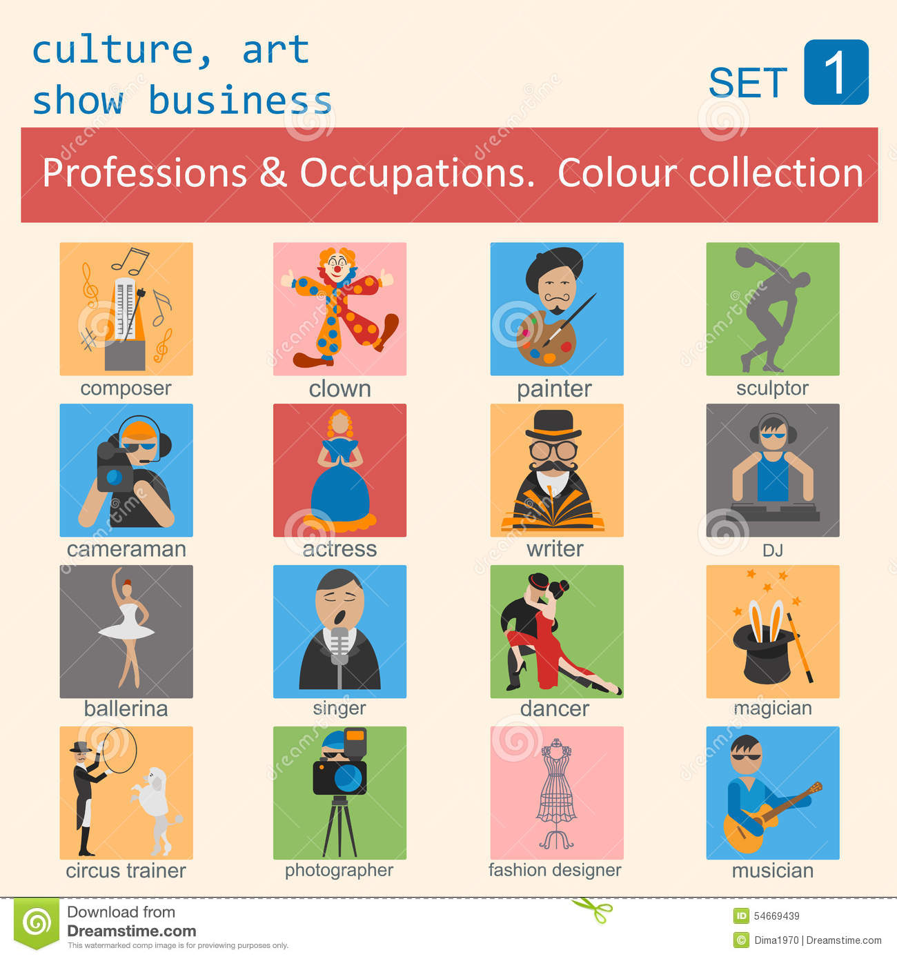 Professions And Occupations Outline Icon Set Culture Art