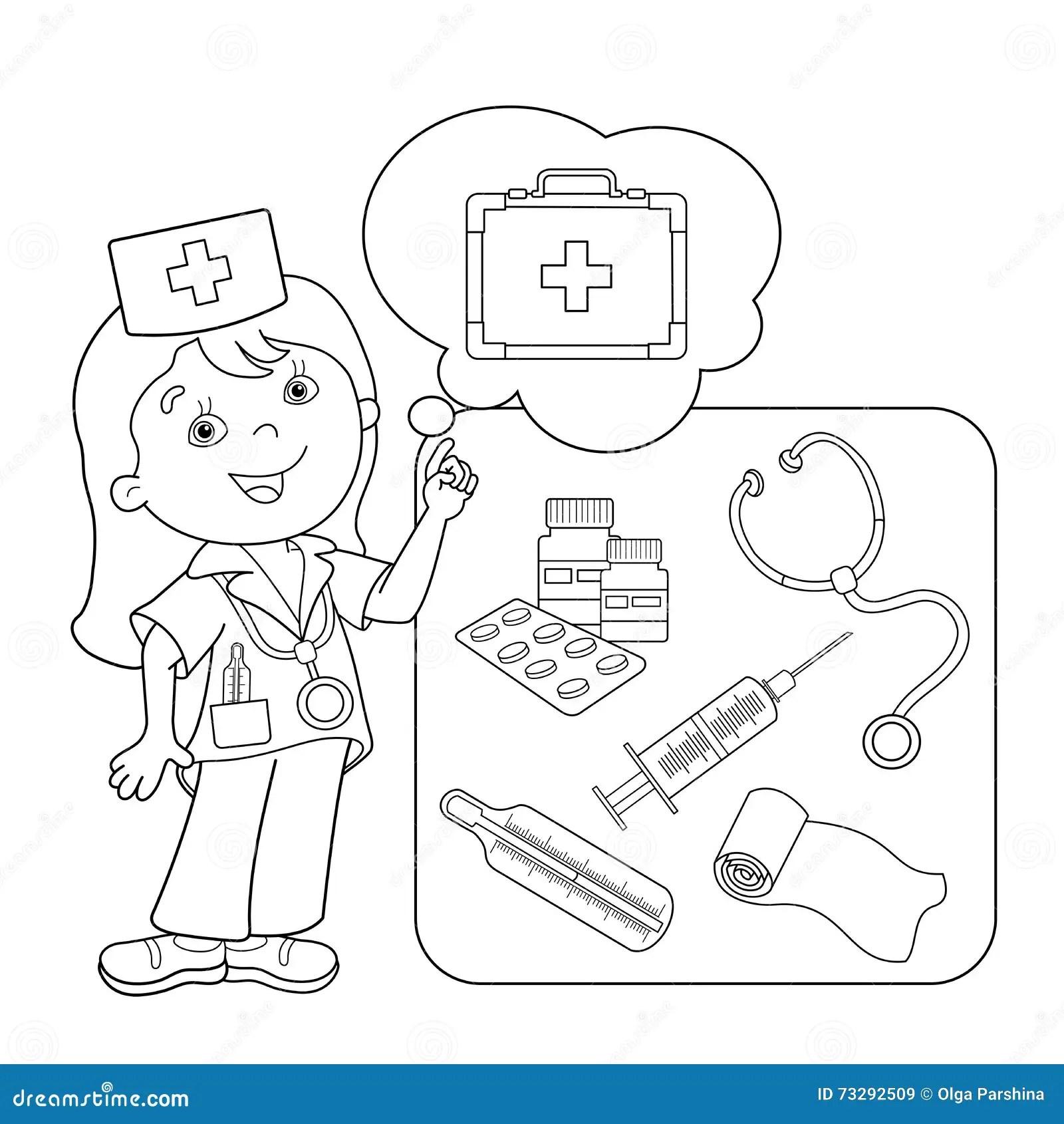 Profilo Della Pagina Di Coloritura Di Medico Del Fumetto