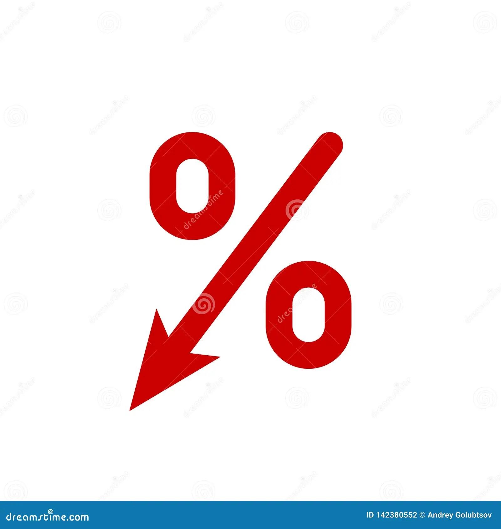 Profit Decrease Fall Arrow And Percent Icon Vector Gdp