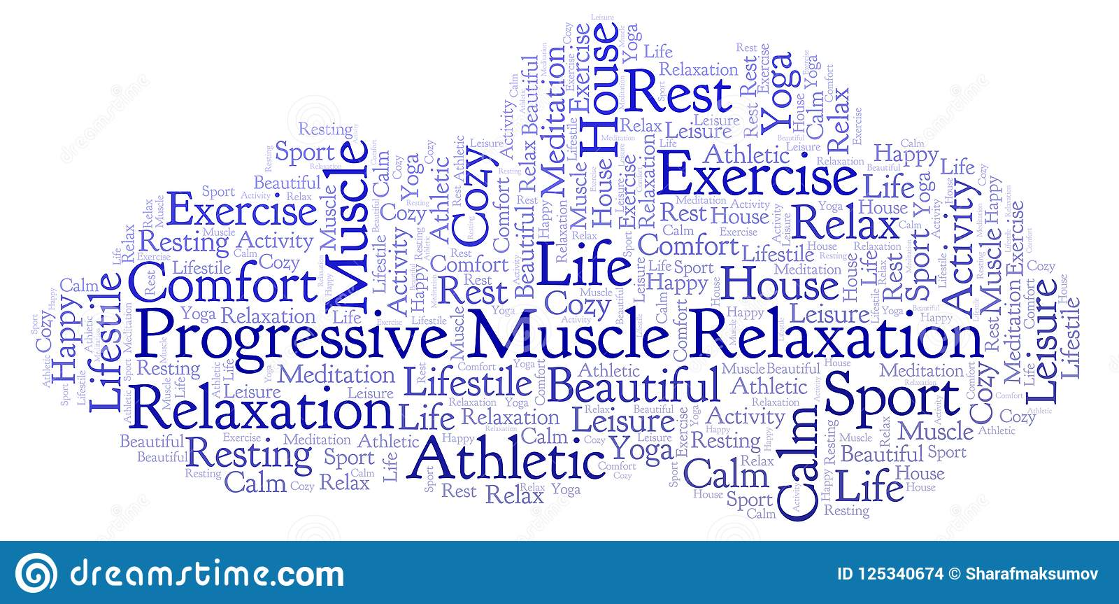 Progressive Muscle Relaxation Word Cloud Stock