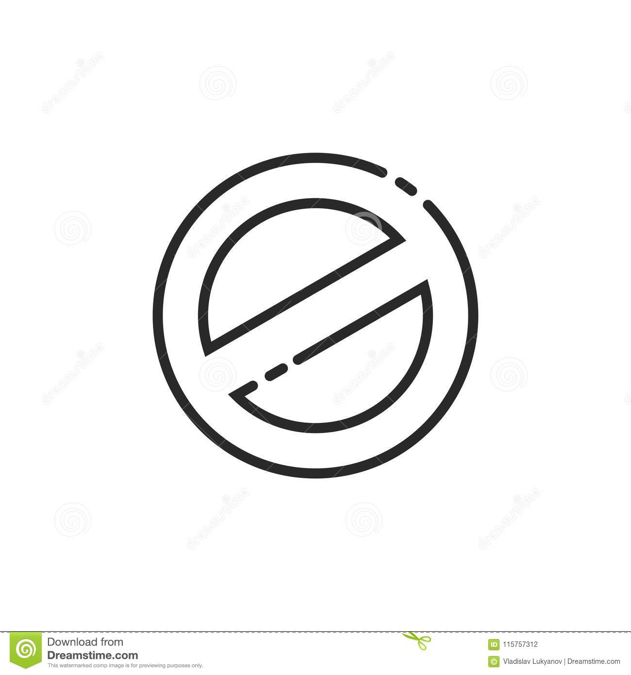 Prohibition Sign Vector Icon Line Outline Prohibited