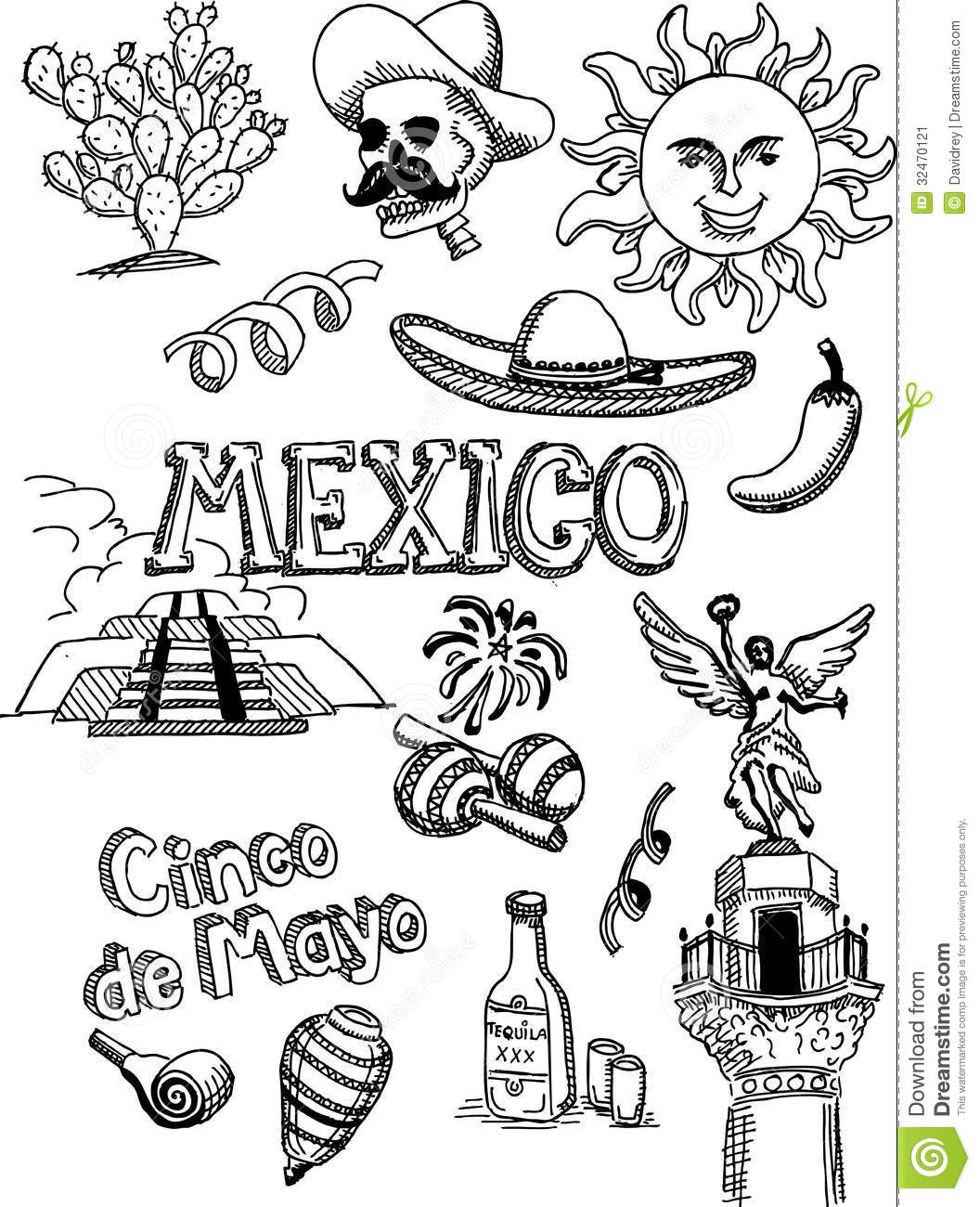 Mexico Doodle Stock Vector Illustration Of Jalapeaplusmn