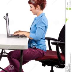 Proper Chair Posture At Computer Amazon Dining Chairs Stock Photos - Image: 31818453