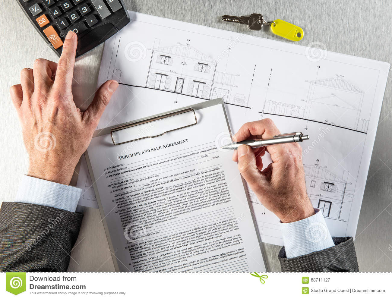 Download Property Developer Hands With Architect Blue Print Writing Purchase  Agreement Stock Image - Image Of