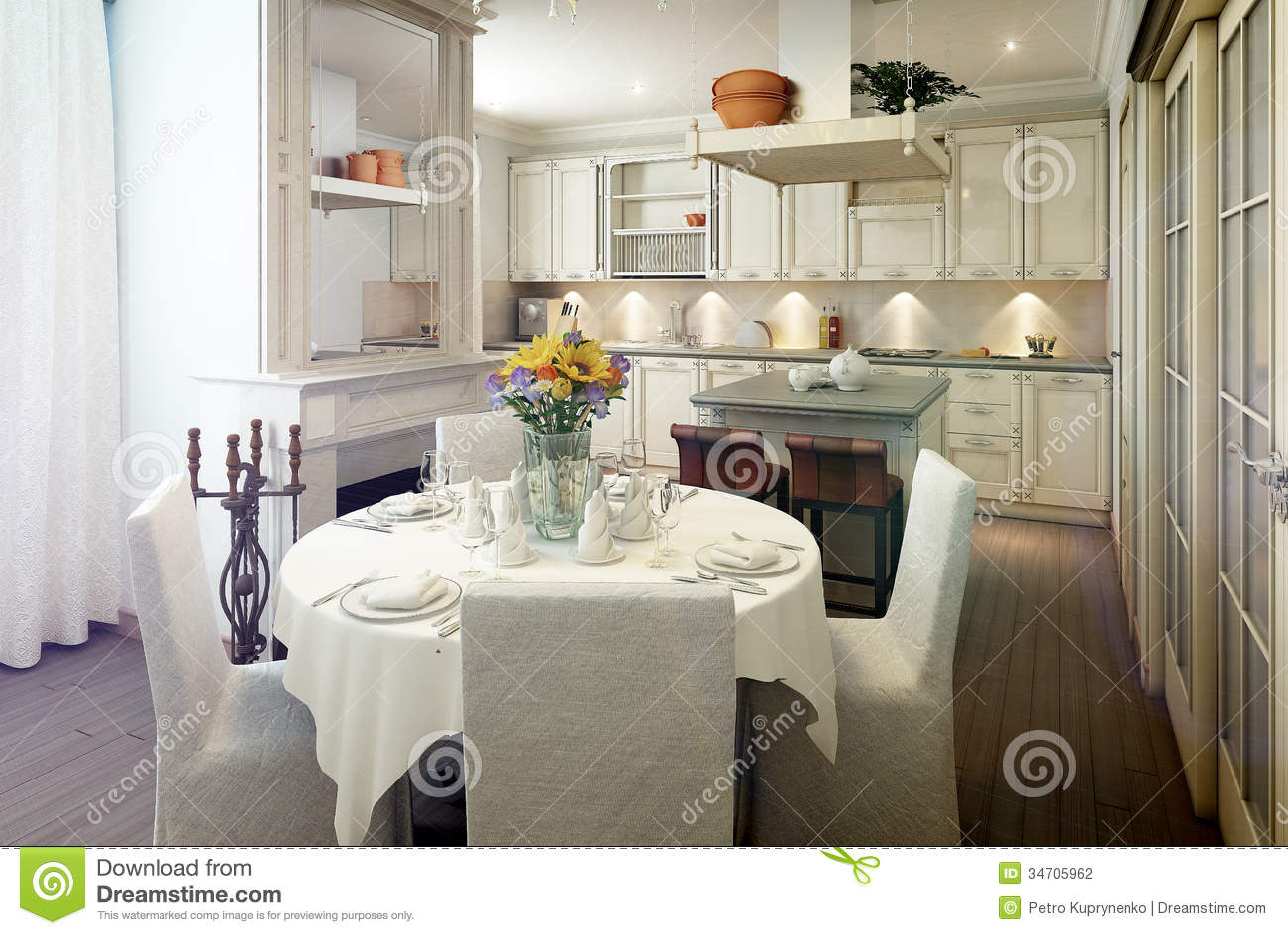 Provence Style Kitchen Interior Dining Room Stock Illustration  Illustration of dining design