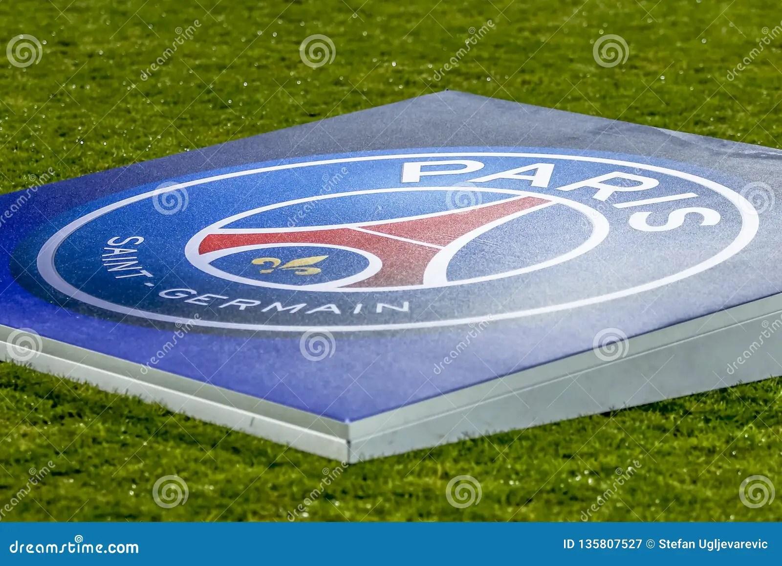 https www dreamstime com psg team logo football field belgrade serbia december up uefa champions league match red star vs paris saint germain image135807527