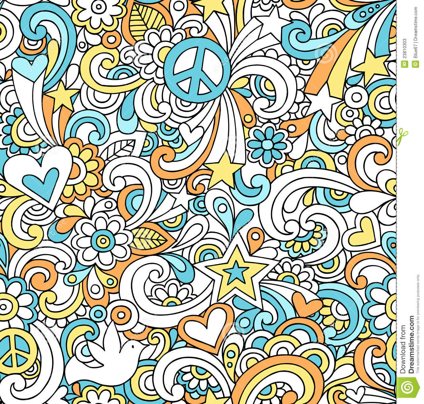 Wallpaper Doodle Cute Psychedelic Peace Doodles Seamless Pattern Stock Photos