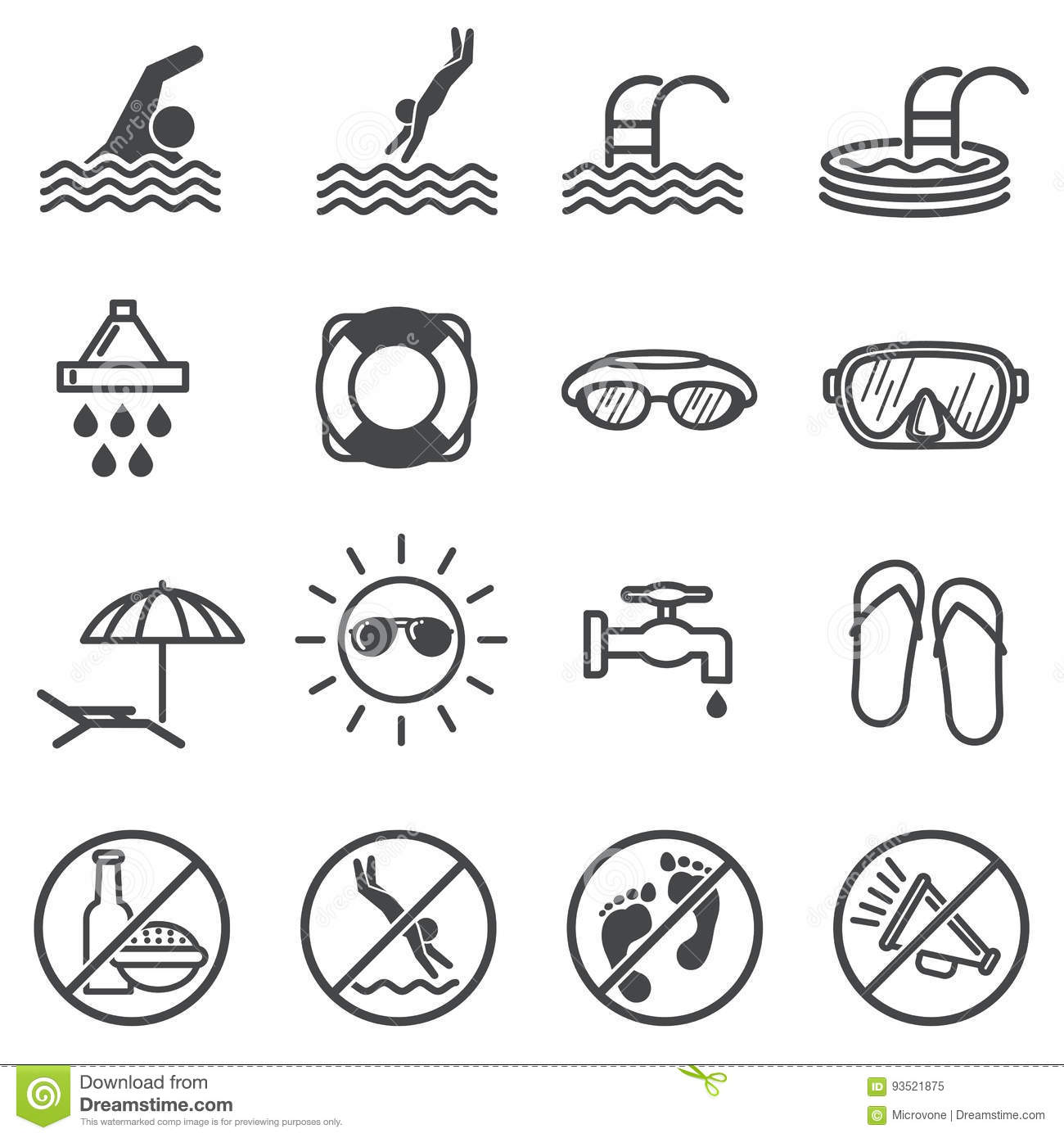 Vector Public Signs Icons Set Vector Illustration
