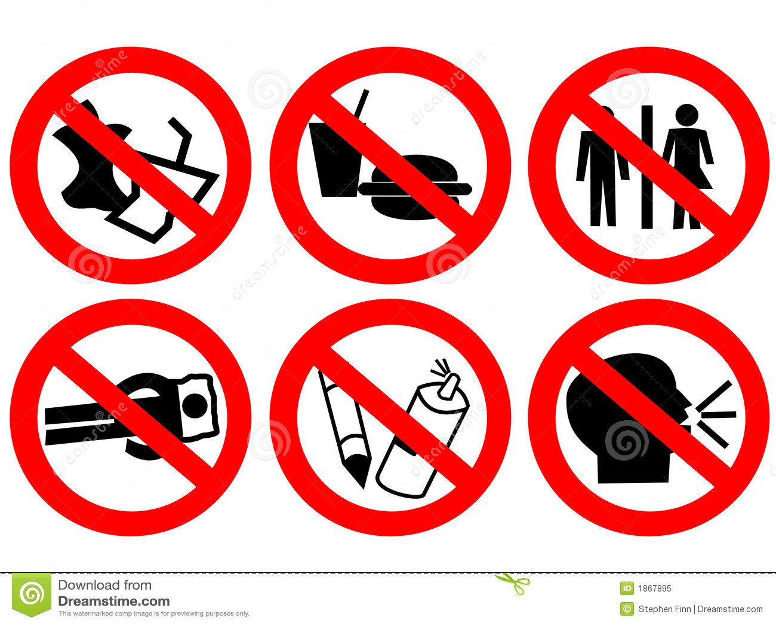Public Space Prohibited Sign Stock Illustration