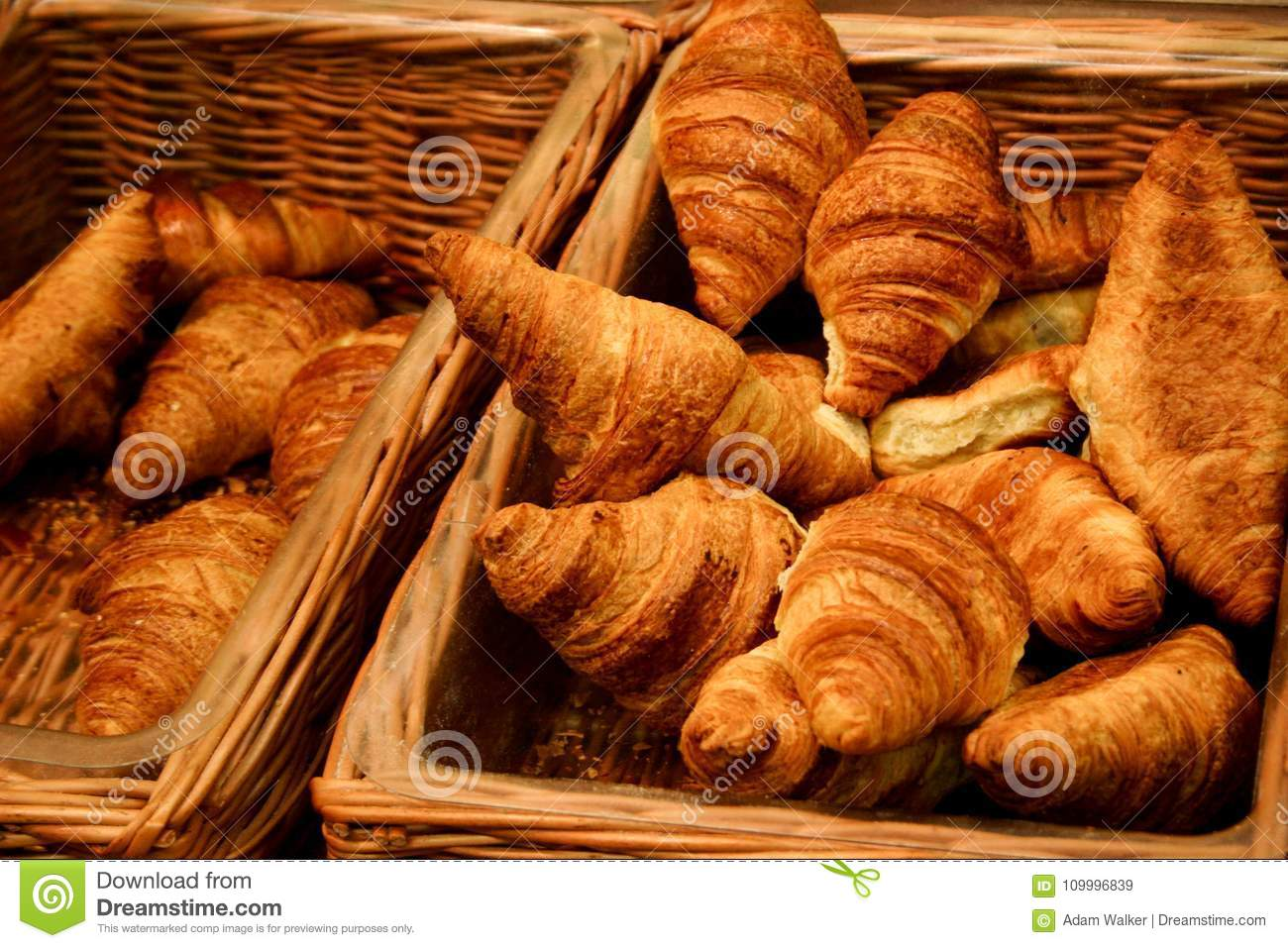 Puffy Golden Brown Croissants In Sales Wicker Baskets Freshly Baked