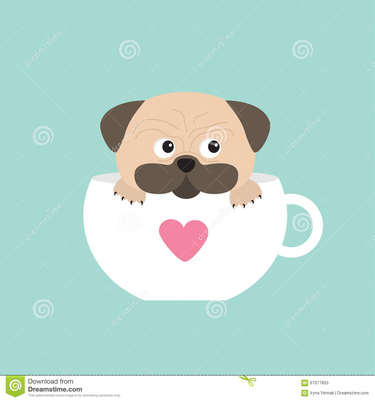 Pug Dog Mops Paw Sitting In Big Cup With Heart Cute