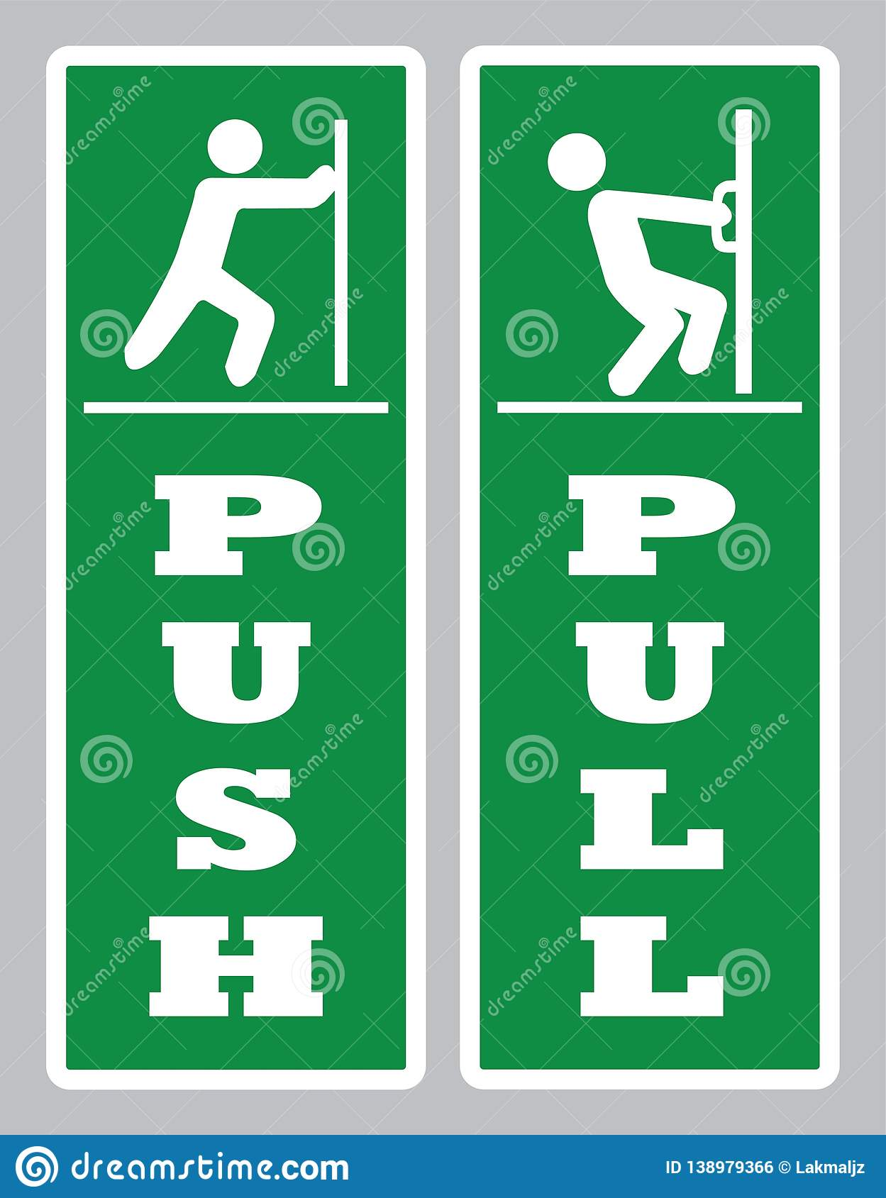 Pull Push Door Sign Open Door Board Vector Stock Vector
