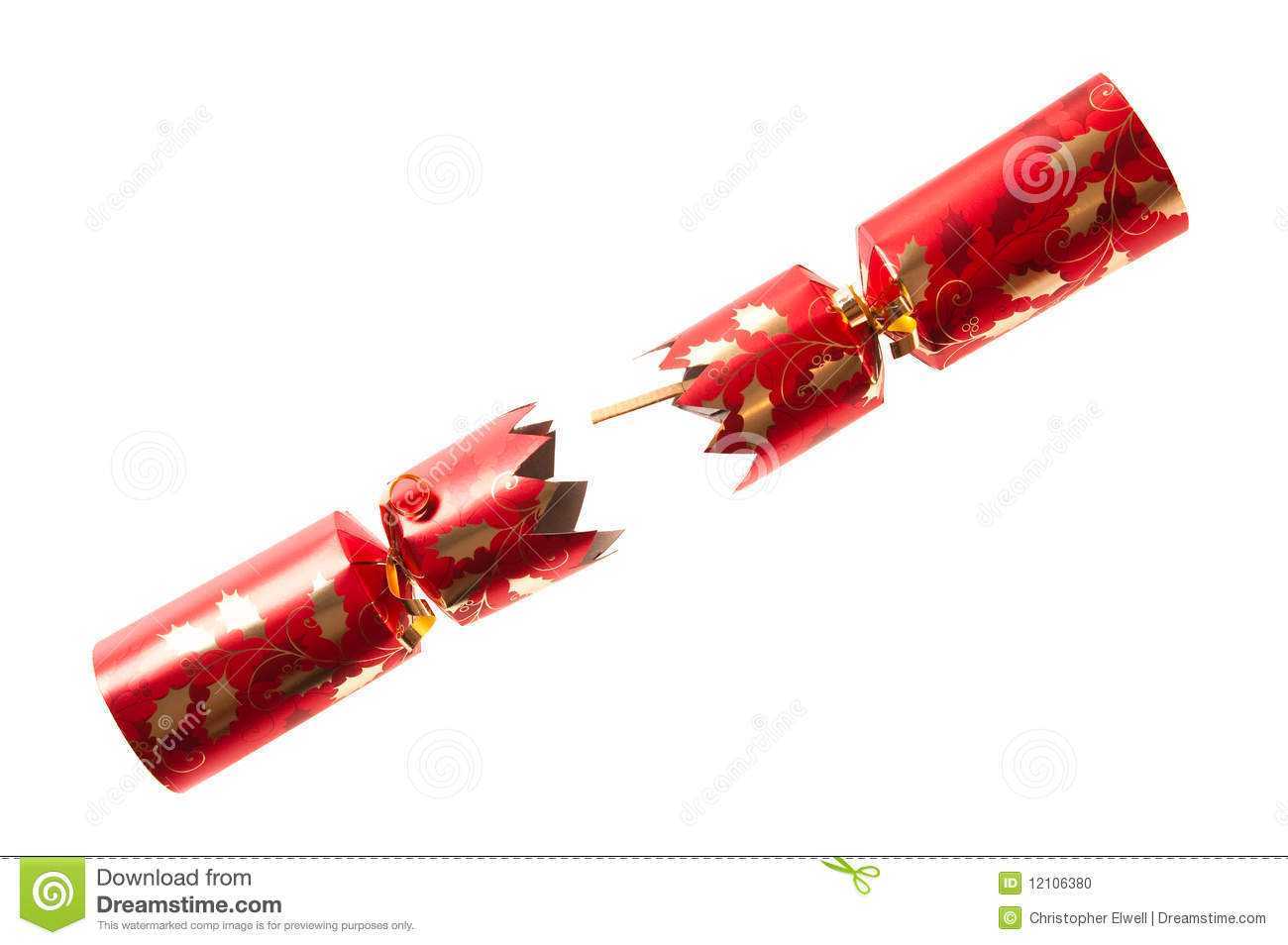 Pulled Christmas Cracker Stock Photo Image Of Isolated