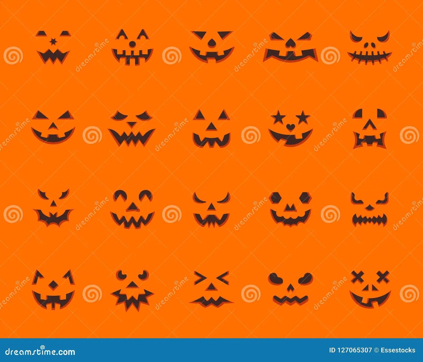 Pumpkin Face Simple Flat Color Icons Vector Set Stock