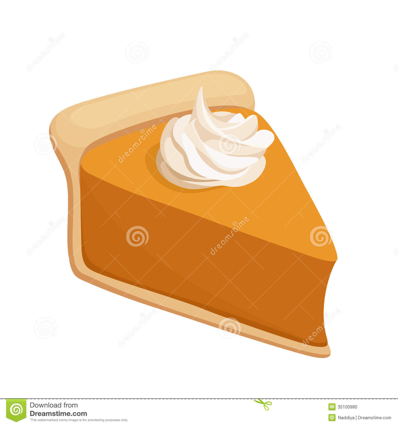 hight resolution of pumpkin pie slice vector