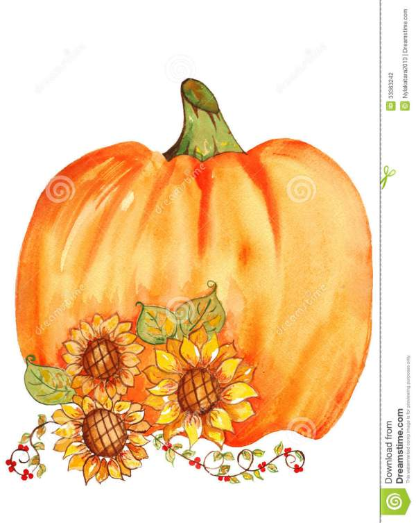 pumpkin with sunflowers watercolor