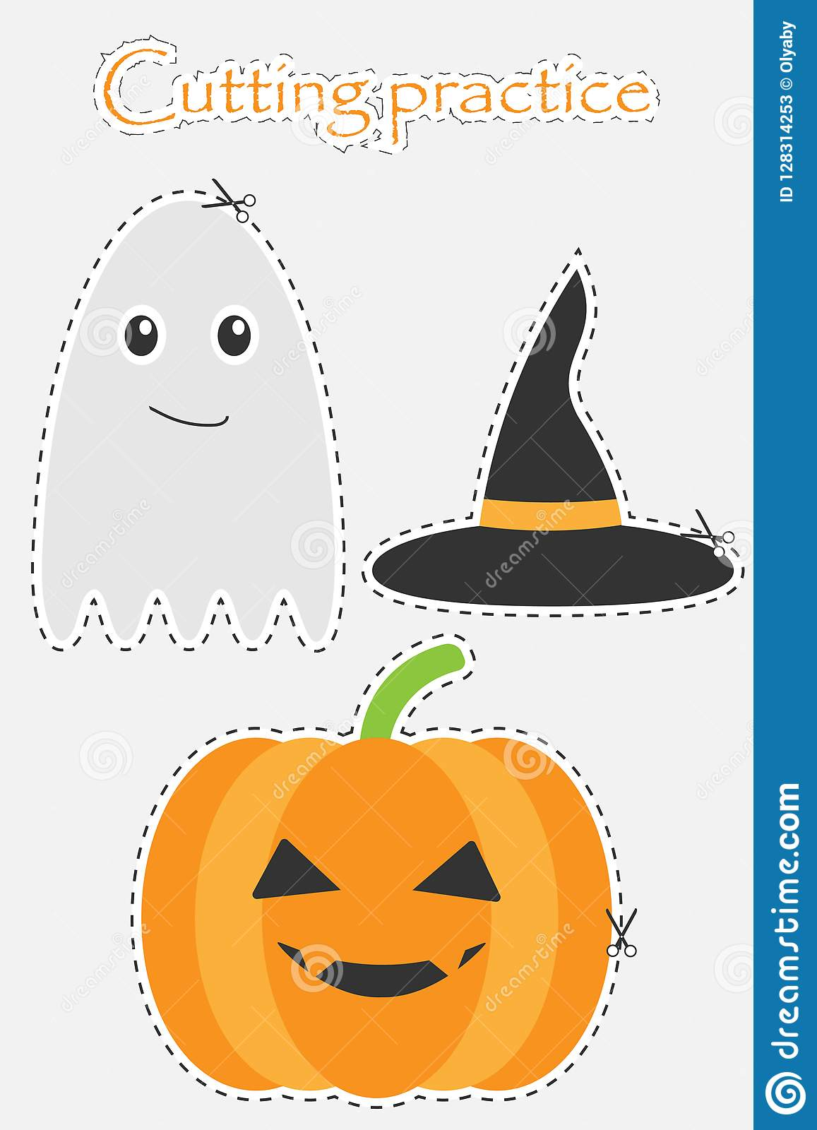 Pumpkin Witch Hat And Ghost In Cartoon Style Halloween