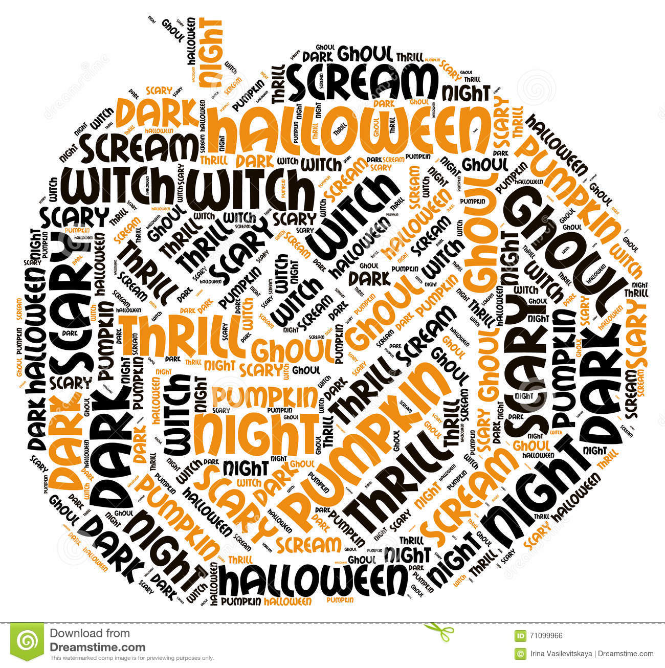 Pumpking Shape Halloween Word Tag Cloud Stock Photo