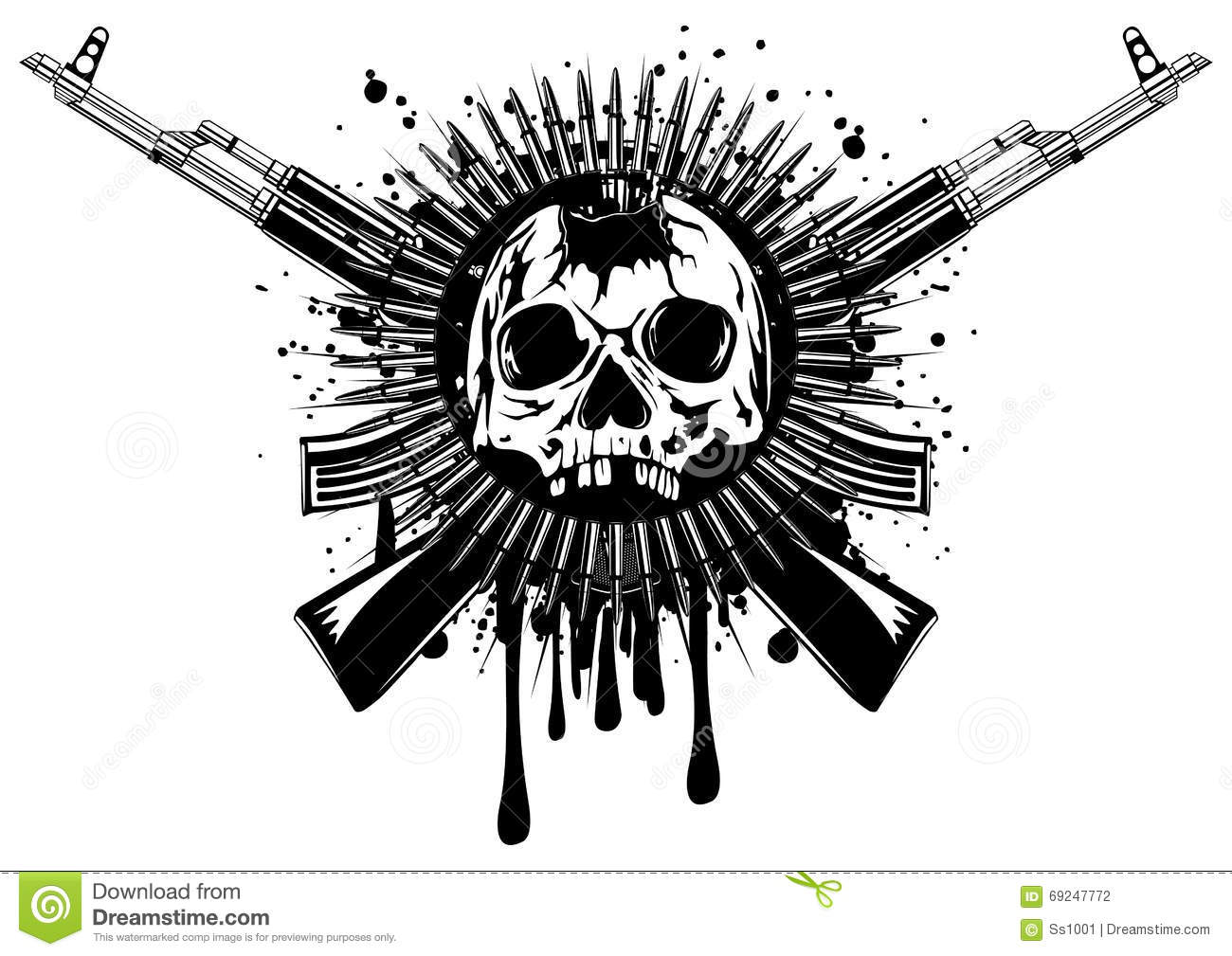 Punched Skull With Crossed Machine Gun Stock Vector
