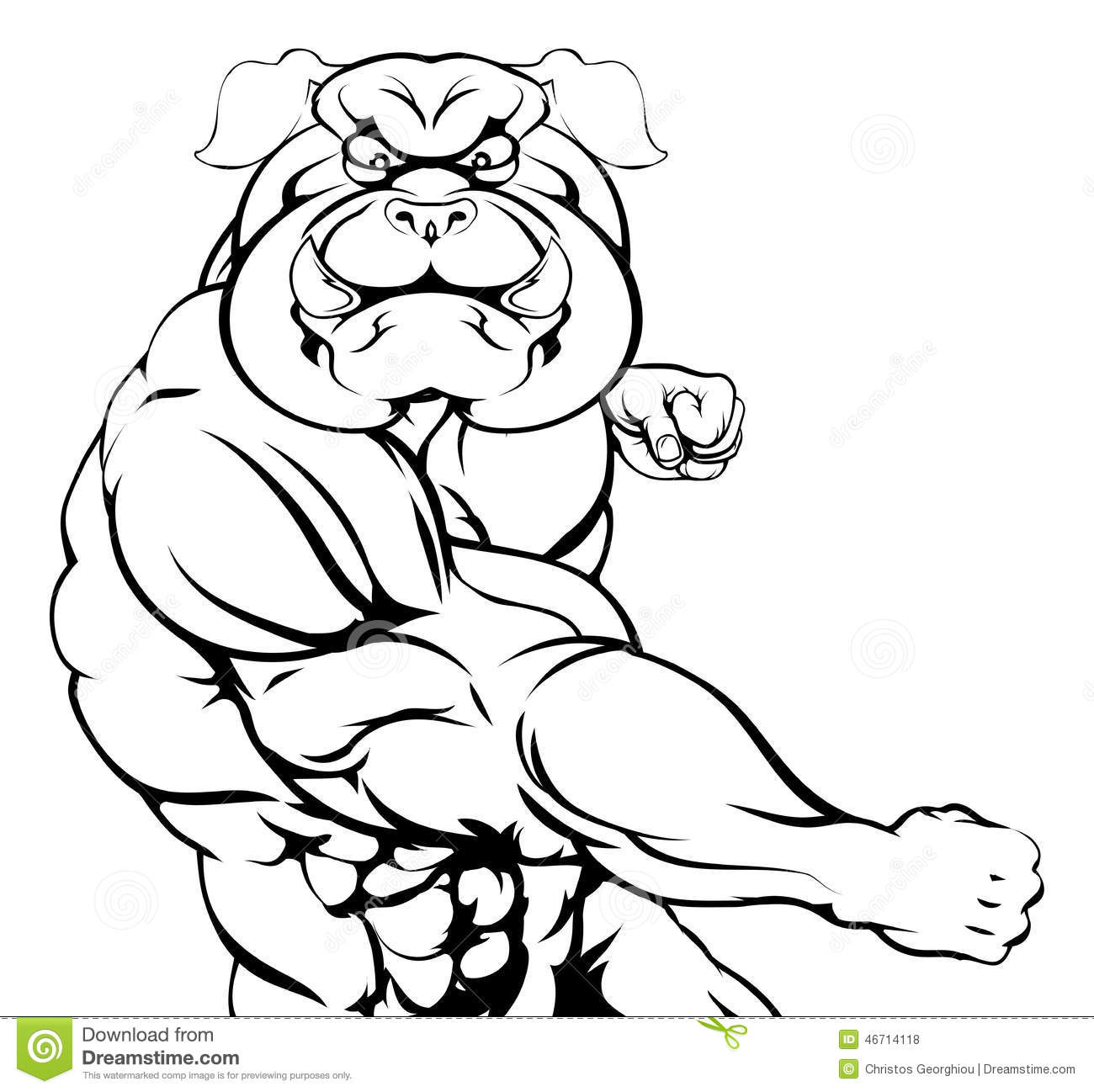 Punching Bulldog Mascot Stock Vector Image Of Angry