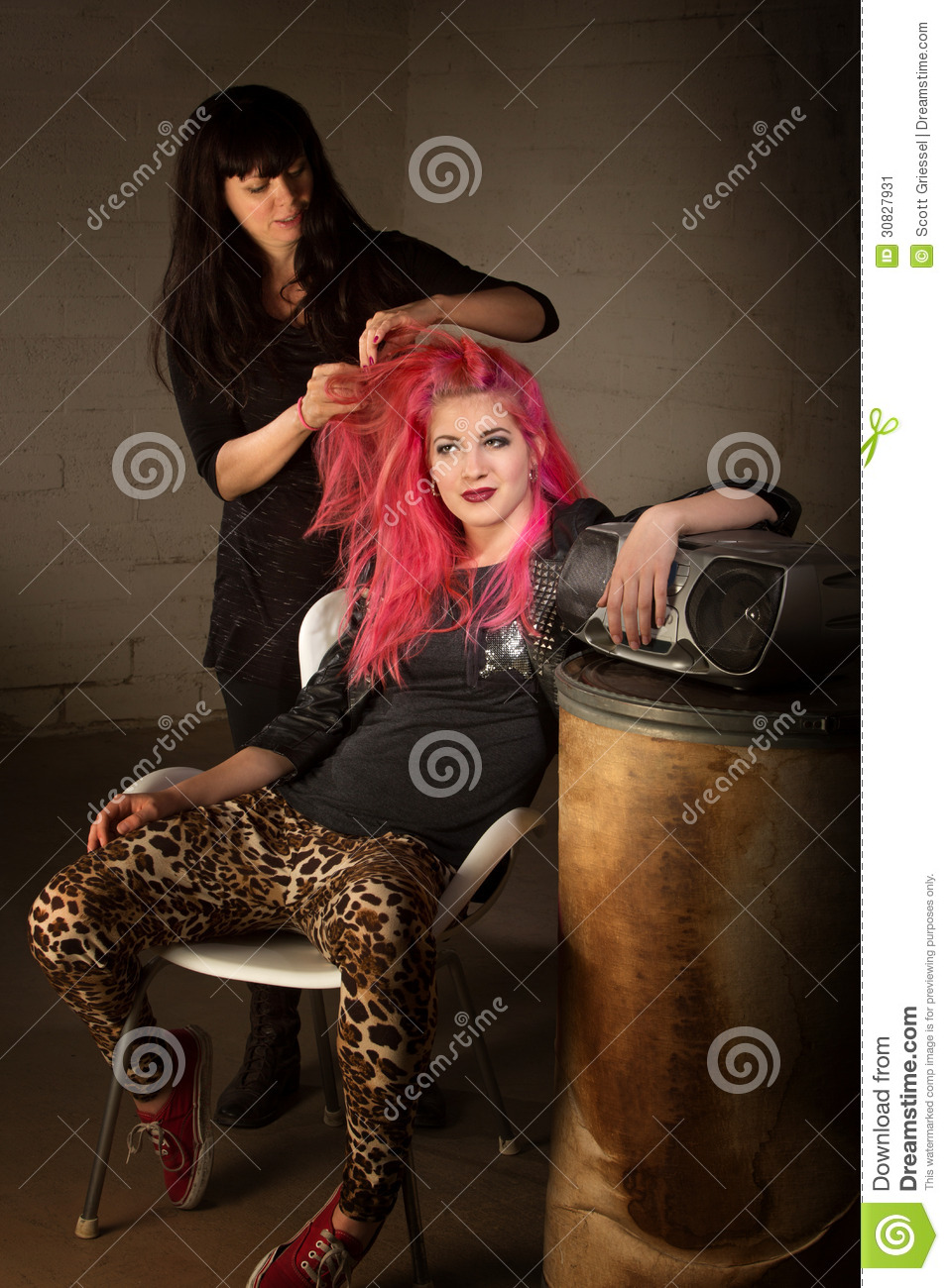 Punk Girl With Hair Stylist Stock Image  Image 30827931
