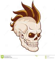punk skull with mohawk cartoon