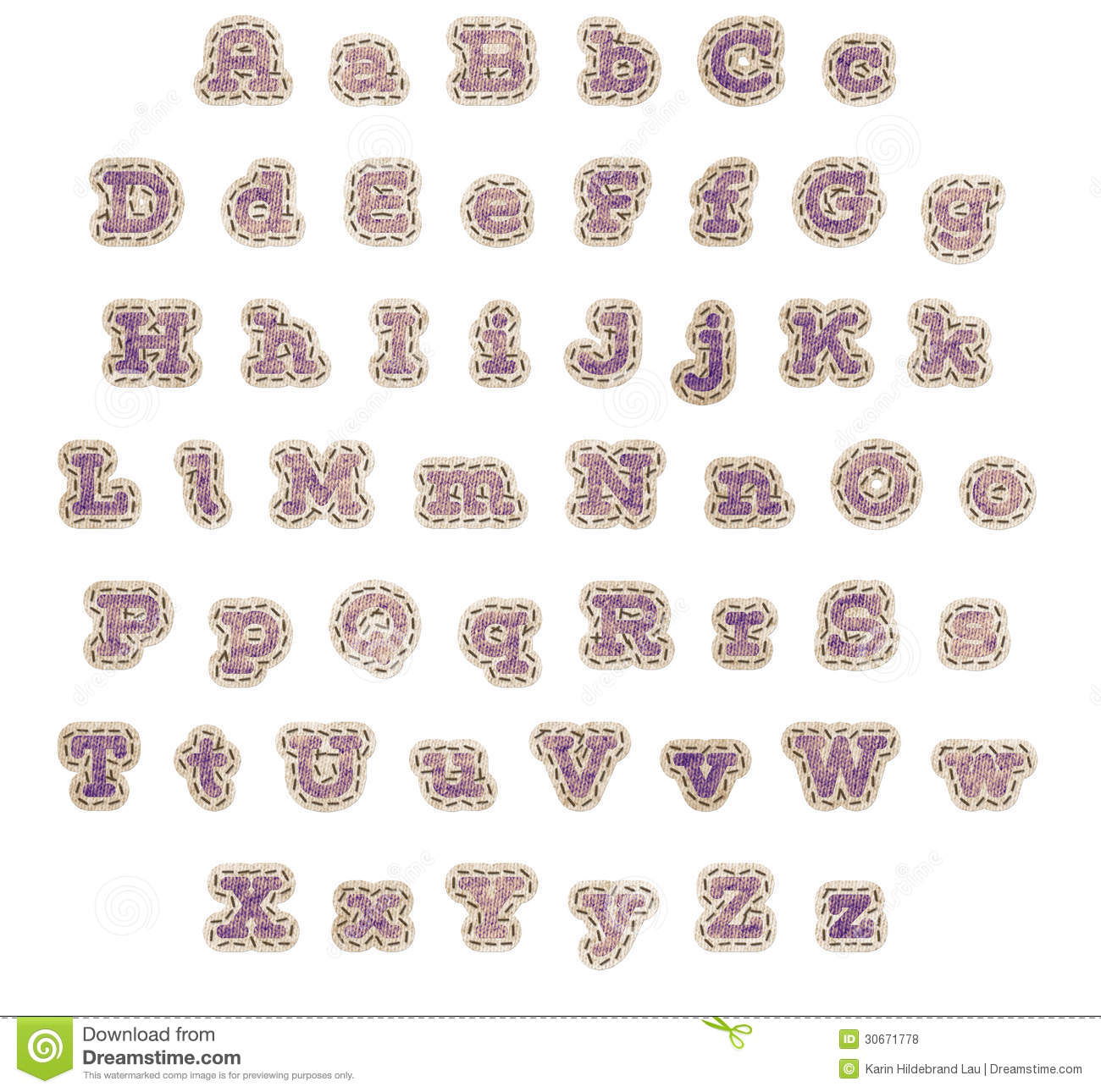 Purple Fabric Patch Alphabet Royalty Free Stock Photos