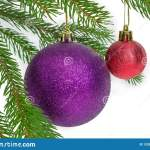 Purple And Red Christmas Decorations Among Of Spruce Branches Stock Image Image Of Isolation Decoration 132627147