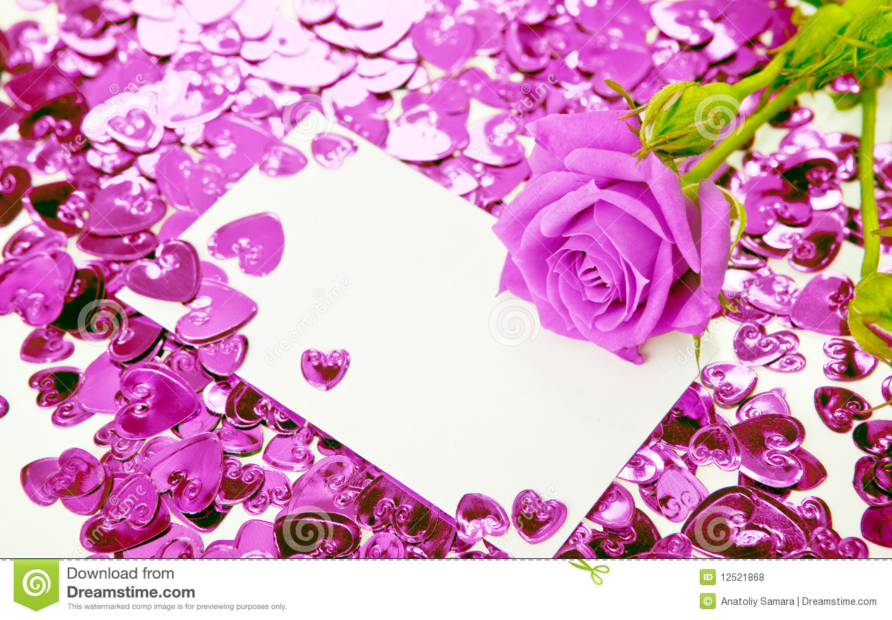 Purple Rose And Card Royalty Free Stock Photos Image
