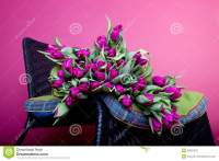 Bouquet Of Purple Tulips On White Chair Royalty-Free Stock ...