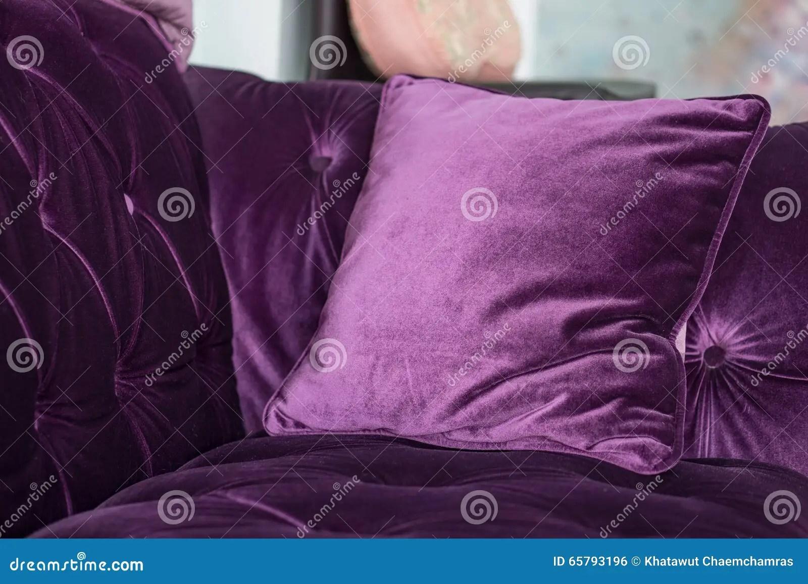 purple velvet pillows on the sofa stock photo image of sofa interior 65793196