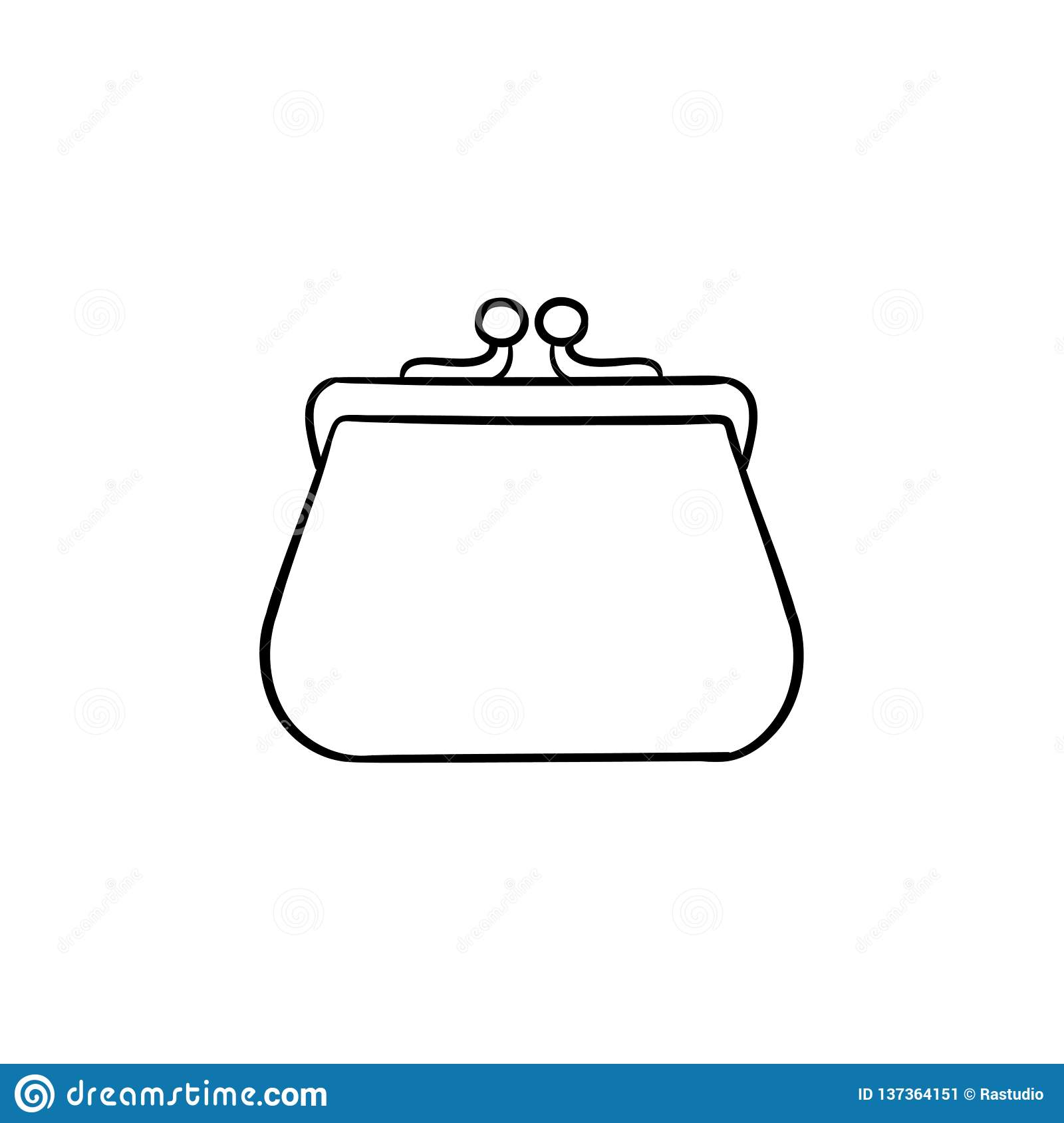 Purse Hand Drawn Outline Doodle Icon Stock Vector