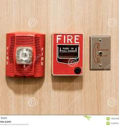 push in pull down switch in case of fire phone jack outlet and fire alarm lighting against wooden background [ 1300 x 957 Pixel ]