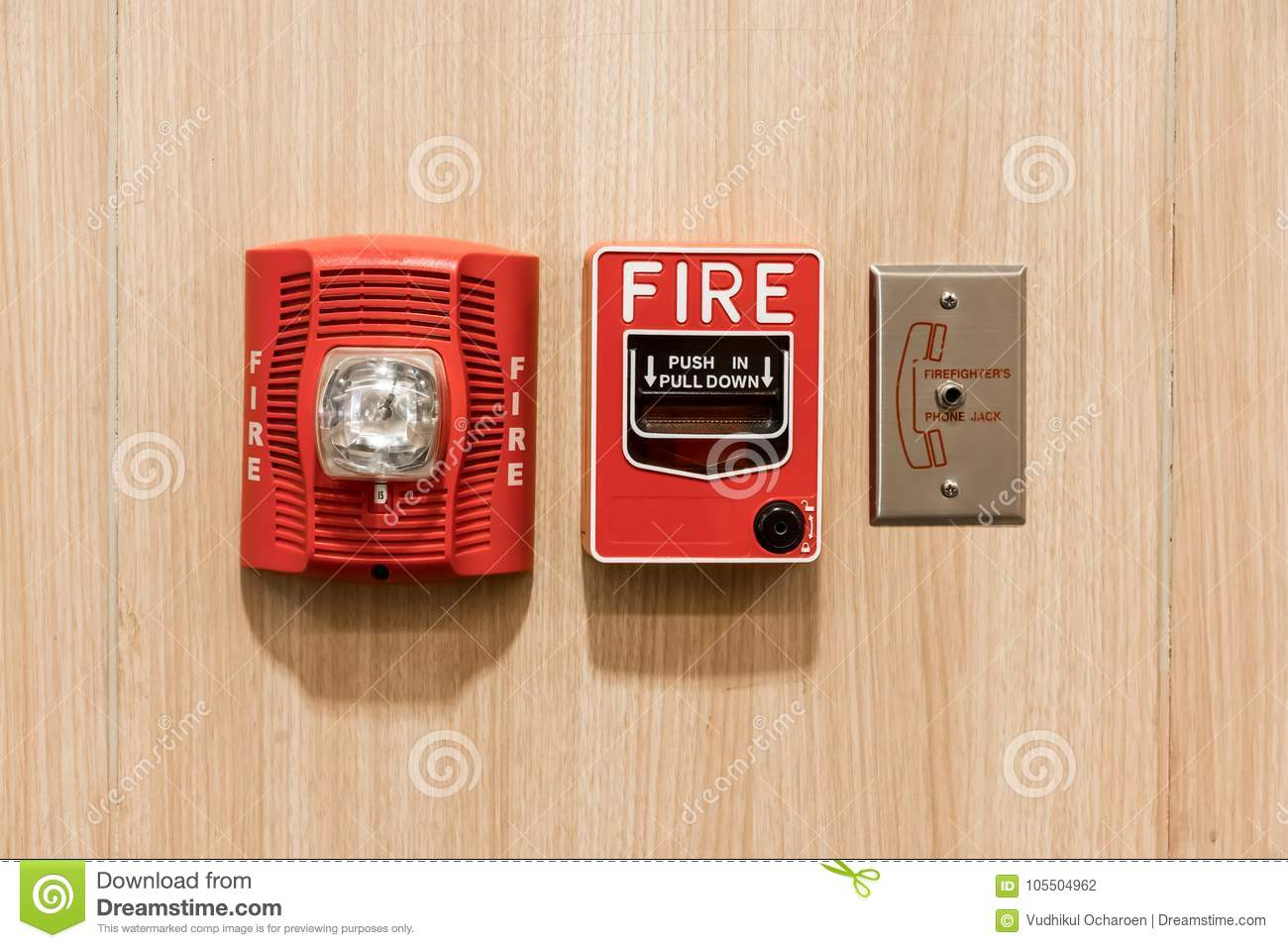 hight resolution of push in pull down switch in case of fire phone jack outlet and fire alarm lighting against wooden background