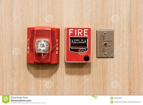 small resolution of push in pull down switch in case of fire phone jack outlet and fire alarm lighting against wooden background