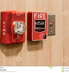 push in pull down switch in case of fire phone jack outlet and fire alarm lighting against wooden background [ 1300 x 951 Pixel ]