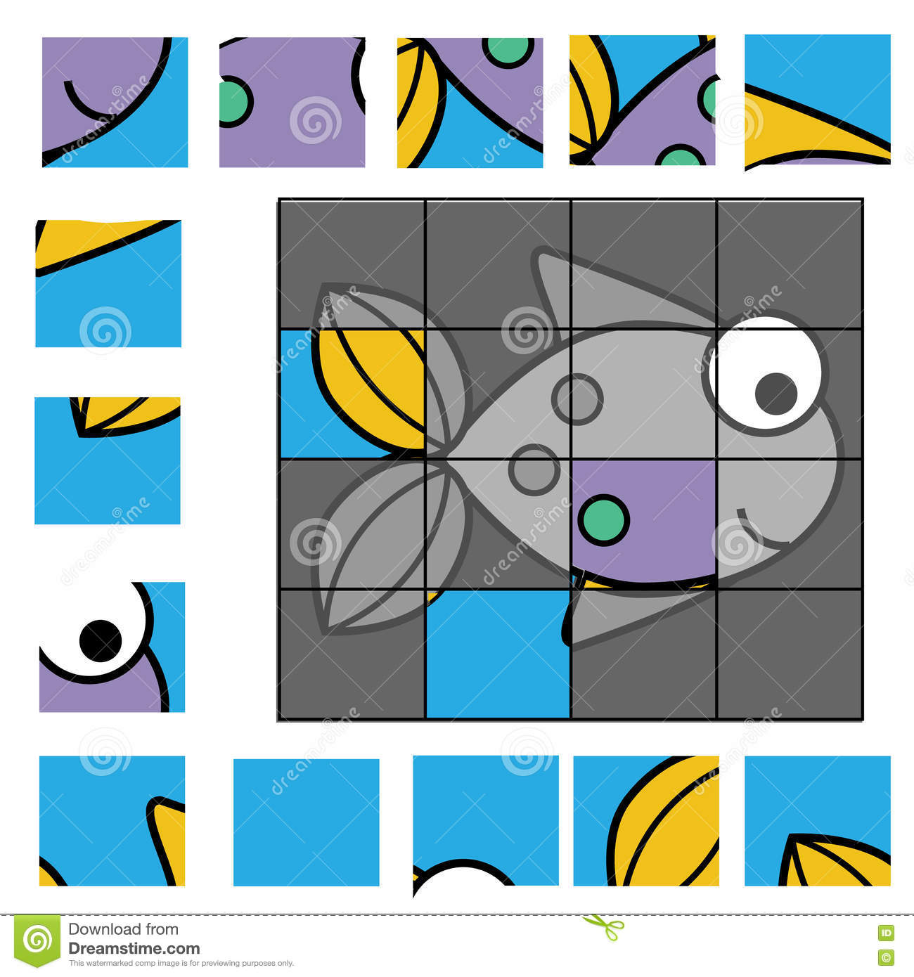 Puzzle Game With Fish Kids Activity Sheet Stock Vector
