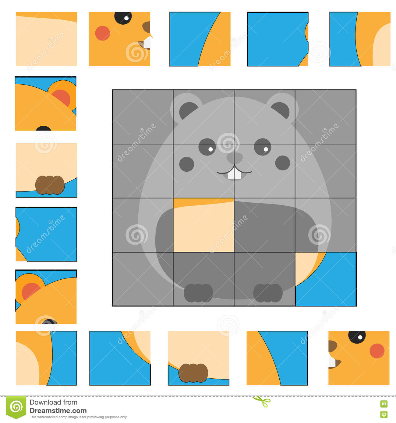 Puzzle Game With Hamster Kids Activity Sheet Stock Vector