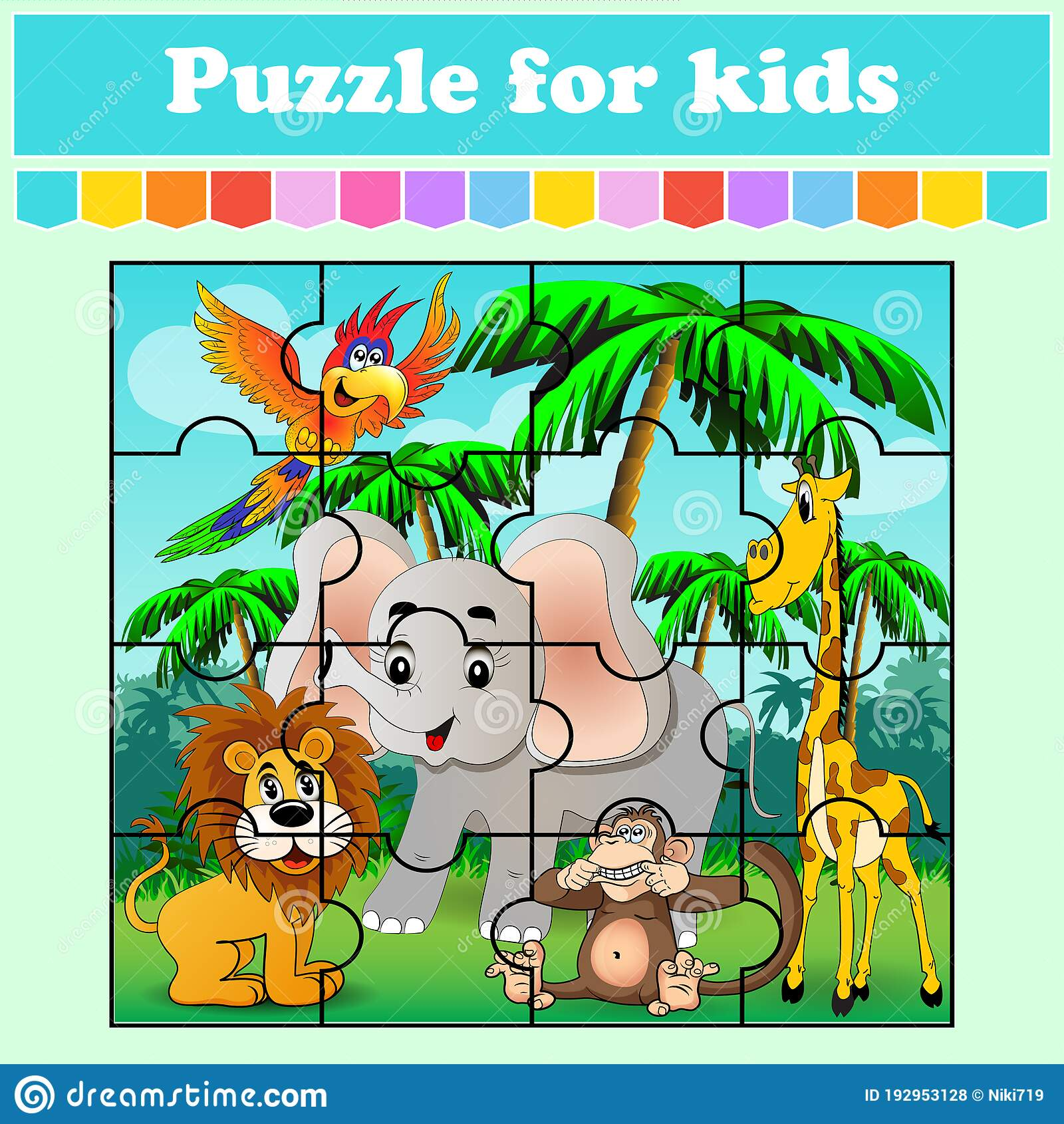 Puzzle Game For Kids Animals In The Meadow Education