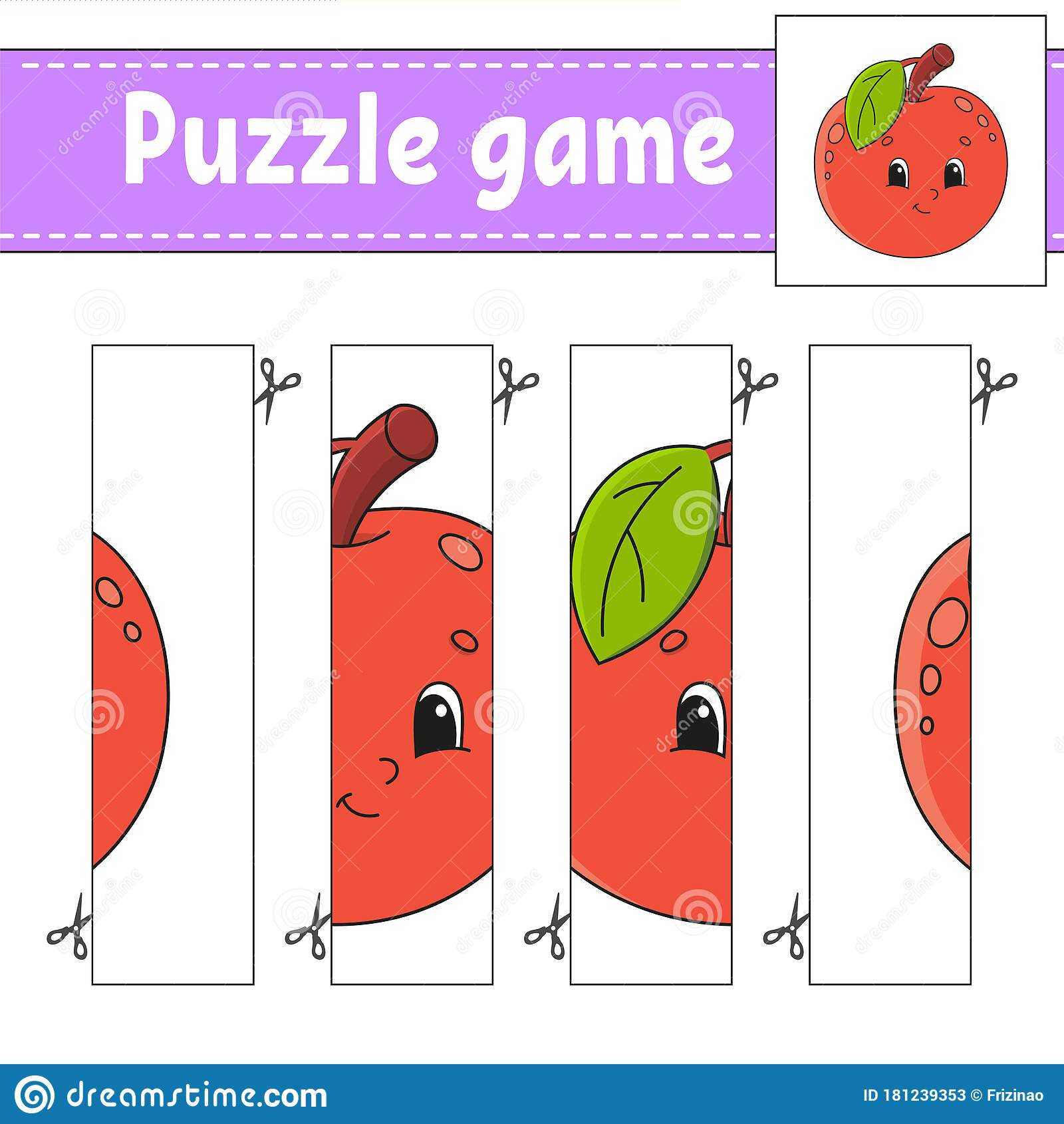 Puzzle Game For Kids Fruit Apple Cutting Practice