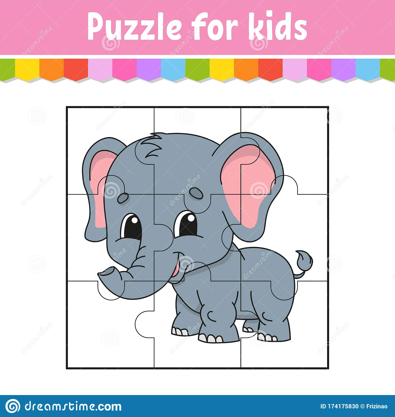 Puzzle Game For Kids Gray Elephant Education Worksheet